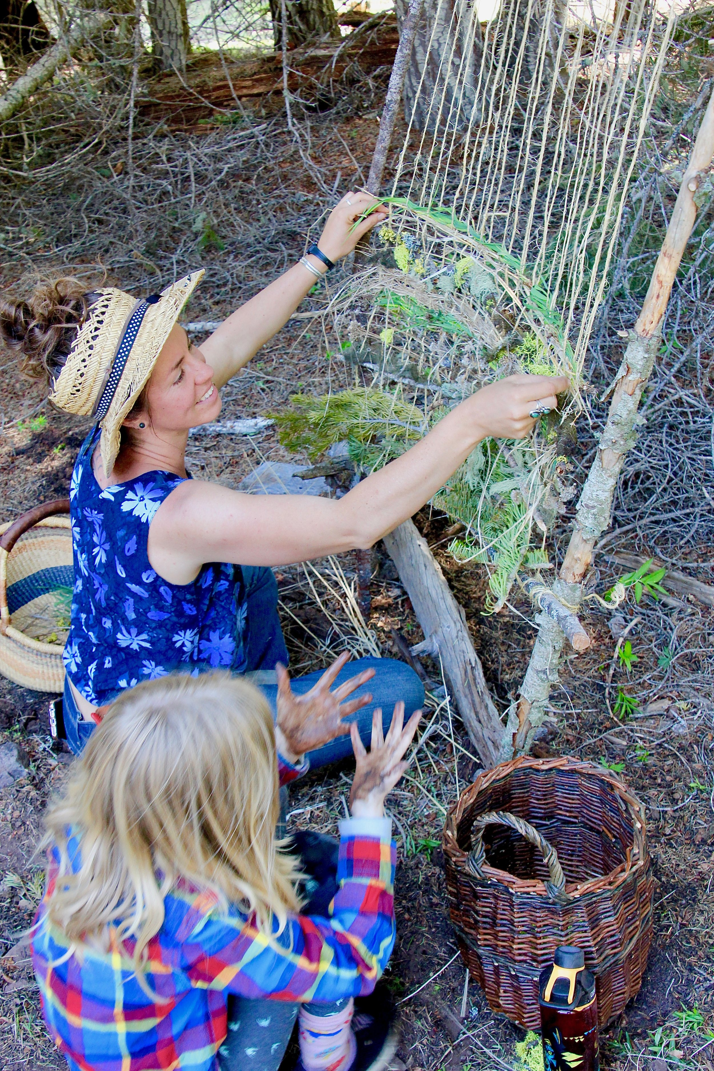 Elizabeth Toby, Crafter-of-All-Things forages for lichen and plants with students to create natural sculptures and weavings.