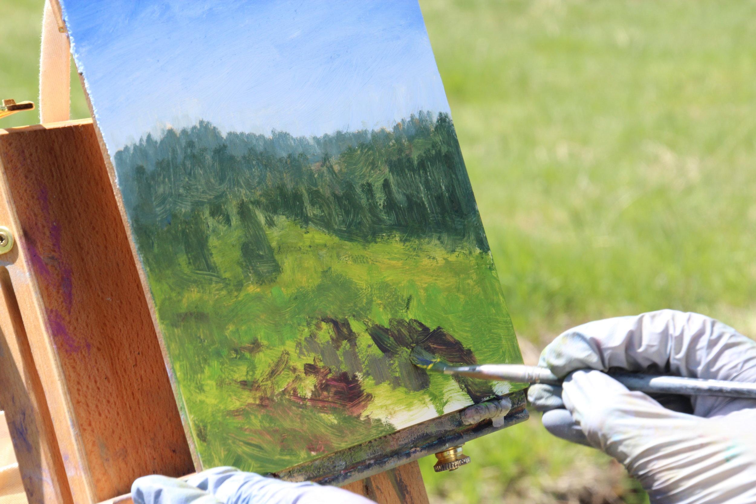 painting in progress by Diamond Ferraiuolo
