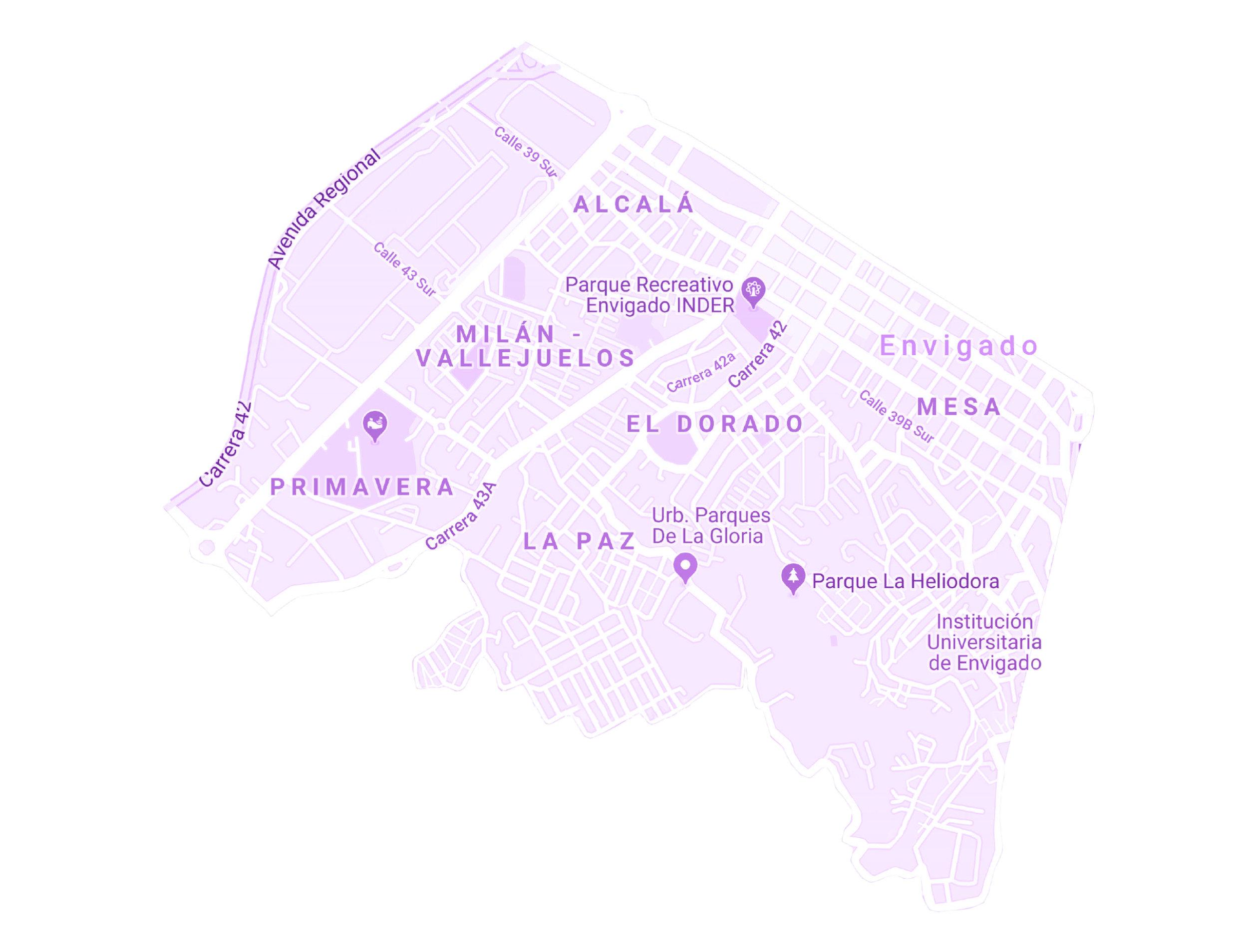 ZONA ENVIGADO 1    BARRIOS:  PRIMAVERA, LA PAZ, LAS ANTILLAS, SAN JOSE, MESA, EL DORADO, VALLEJUELOS.