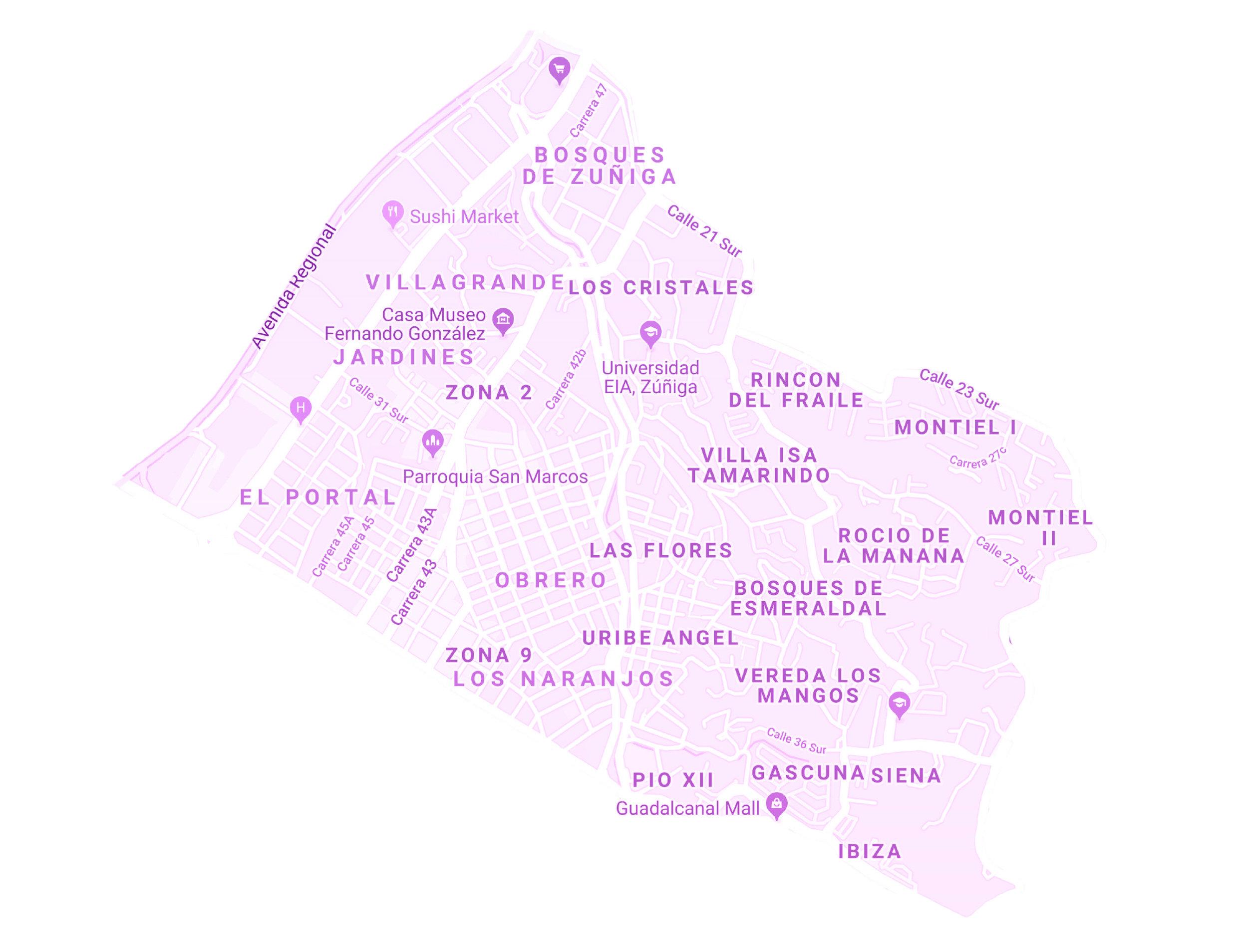 ZONA ENVIGADO 2 - ESCOBERO    BARRIOS:  EL PORTAL, LOS NARANJOS, PIO XII,IBIZA, GASCUÑA, LOS MANGOS, URIBE ANGEL, OBRERO, BOSQUES DE ESMERALDAL, LAS FLORES, VILLA ISA, JARDINES, VILLA GRANDE, LOS CRISTALES, ZUÑIGA.