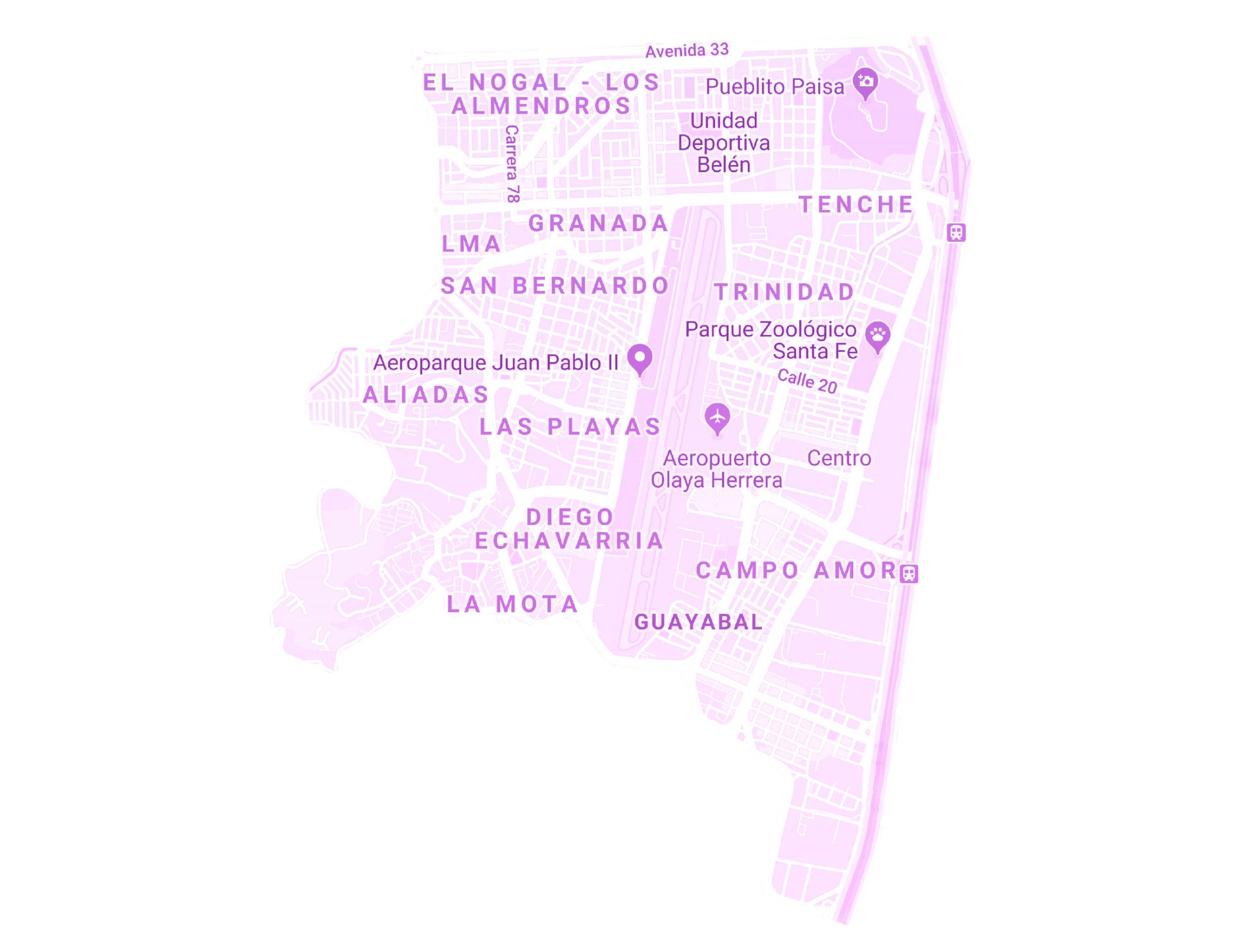 ZONA ÉXITO LAURELES - BELÉN    BARRIOS:  EL NOGAL LOS ALMENDROS, GRANADA, TENCHE, TRINIDAD, SAN BERNARDO, BELÉN ALIADAS, LAS PLAYAS, DIEGO ECHAVARRIA, CAMPO AMOR, GUAYABAL Y LA MOTA.