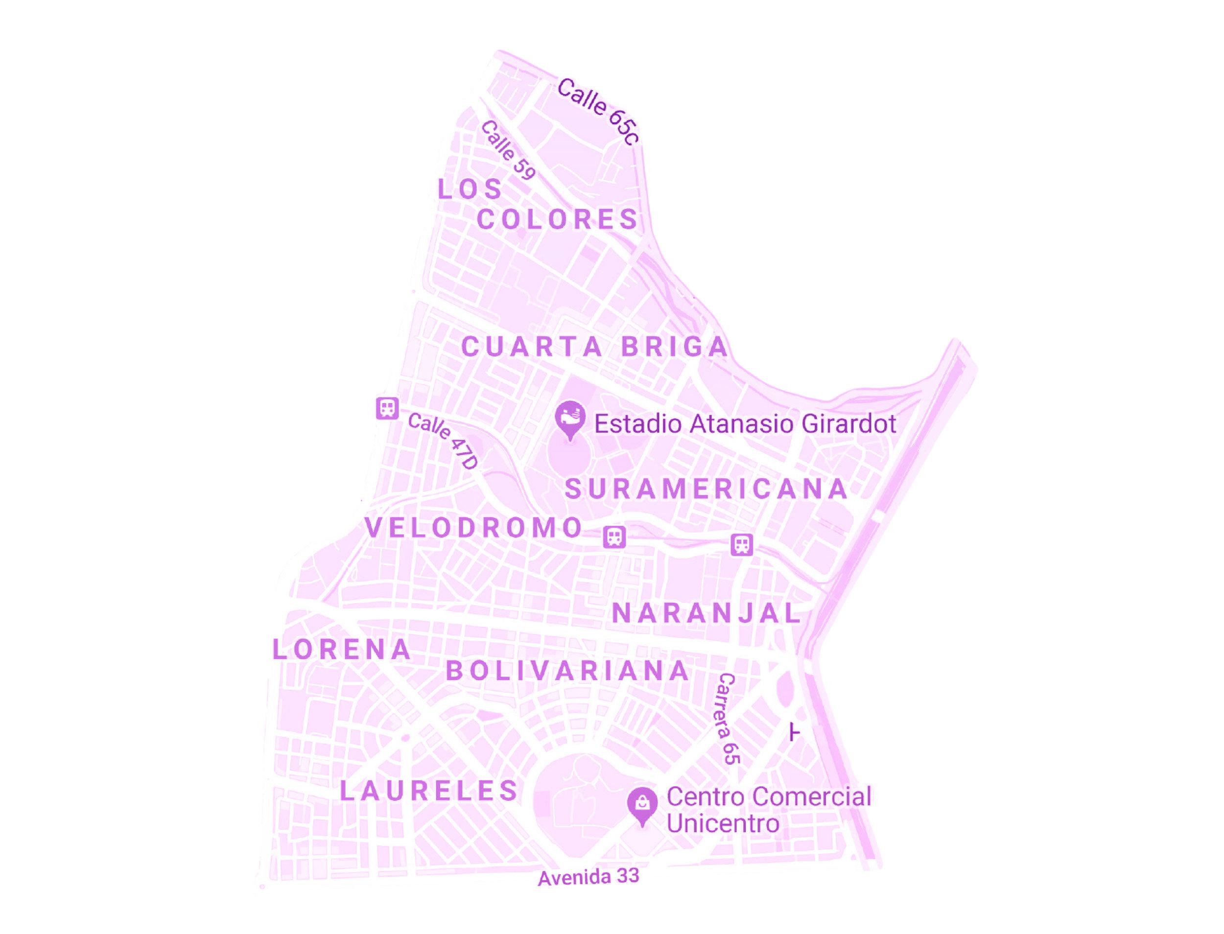 ZONA ÉXITO ROBLEDO    BARRIOS:  LOS COLORES, 4 BRIGADA, VELÓDROMO, SURAMERICANA, NARANJAL, BOLIVARIANA, LAURELES Y LORENA.