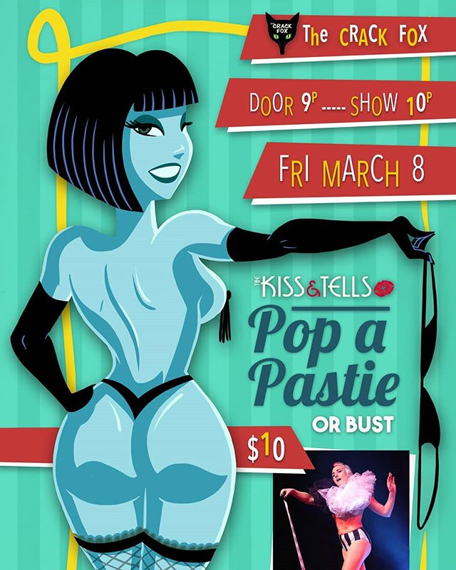 Our season kickoff event, Pop a Pastie or Bust is coming up on Fri, Mar 8 @crackfoxstl!  Hang out with the gang and find out what stories we'll be telling this year.  Love what we do and want to make sure we keep doing it?  Come out to the show and help spread the word!  #thekissandtells #burlesque #burlyq #dance #aerial #singing #singandstrip #performance #fundraiser #goseeashow