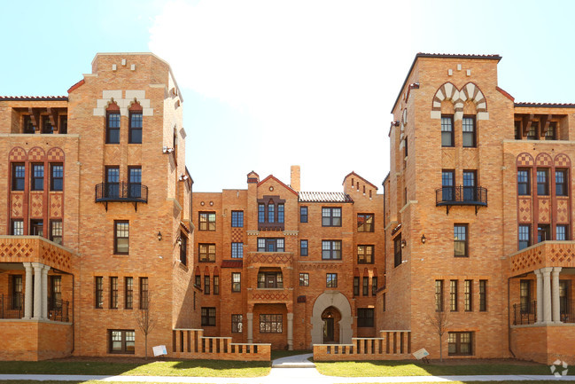 Coronado Square - The 1920's Spanish-Moorish revival style building has one and two bedroom apartments with 80% affordable units mixed in. The energy efficient units have been completed with granite countertops, stainless steel appliances, and hardwood floors.