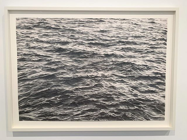 It's so windy outside today. I imagine if I were standing at the water's edge now it would look just like this #VijaCelmins print. - - #ocean prints made btwn 1970-2016 @matthewmarksgallery thru 10/26. #matthewmarksgallery