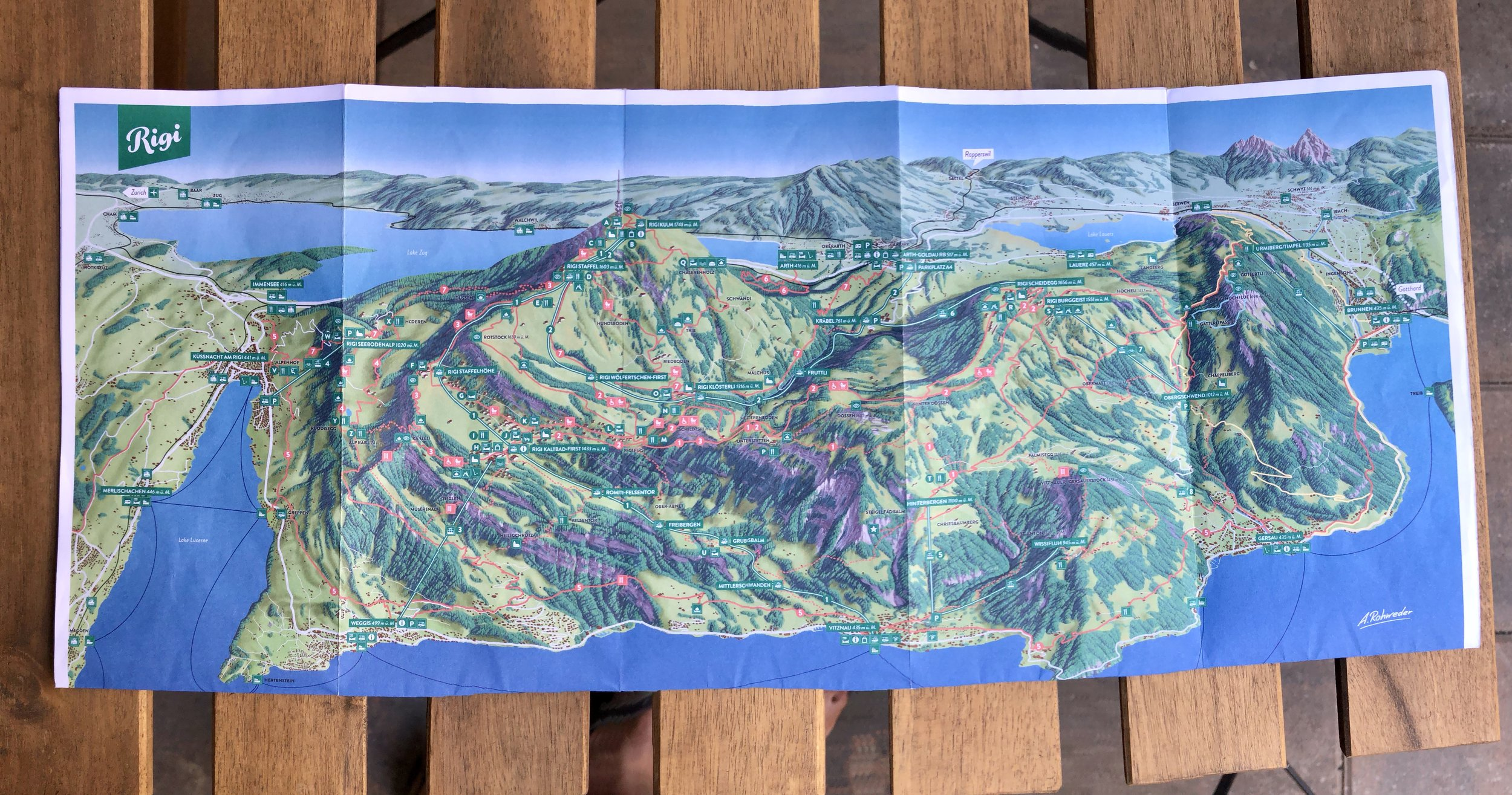 Map of Mt Rigi area and hiking trails