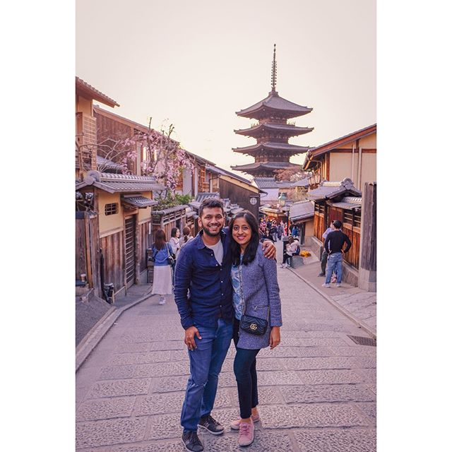 I was just going through our Japan travel this past March and we found our most favorite memory from that trip.  We had finished our walking tour and we were contemplating what to do. We decided to meander along Higashiyama district of Kyoto. Our feet were dead tired but the beautiful tiny shops and the beauty of old Kyoto made us forget that. It was around sunset and the light was perfect, we found a tourist and asked him to click a shot and luckily he got an awesome one! After enjoying the sunset we ended up walking to a cozy Yakitori place where we sat by the kitchen table and ate whatever the chef recommended 😛  #japan #kyoto #higashiyama #throwback #oldtown #travel #love #sunset #withher #betterhalf