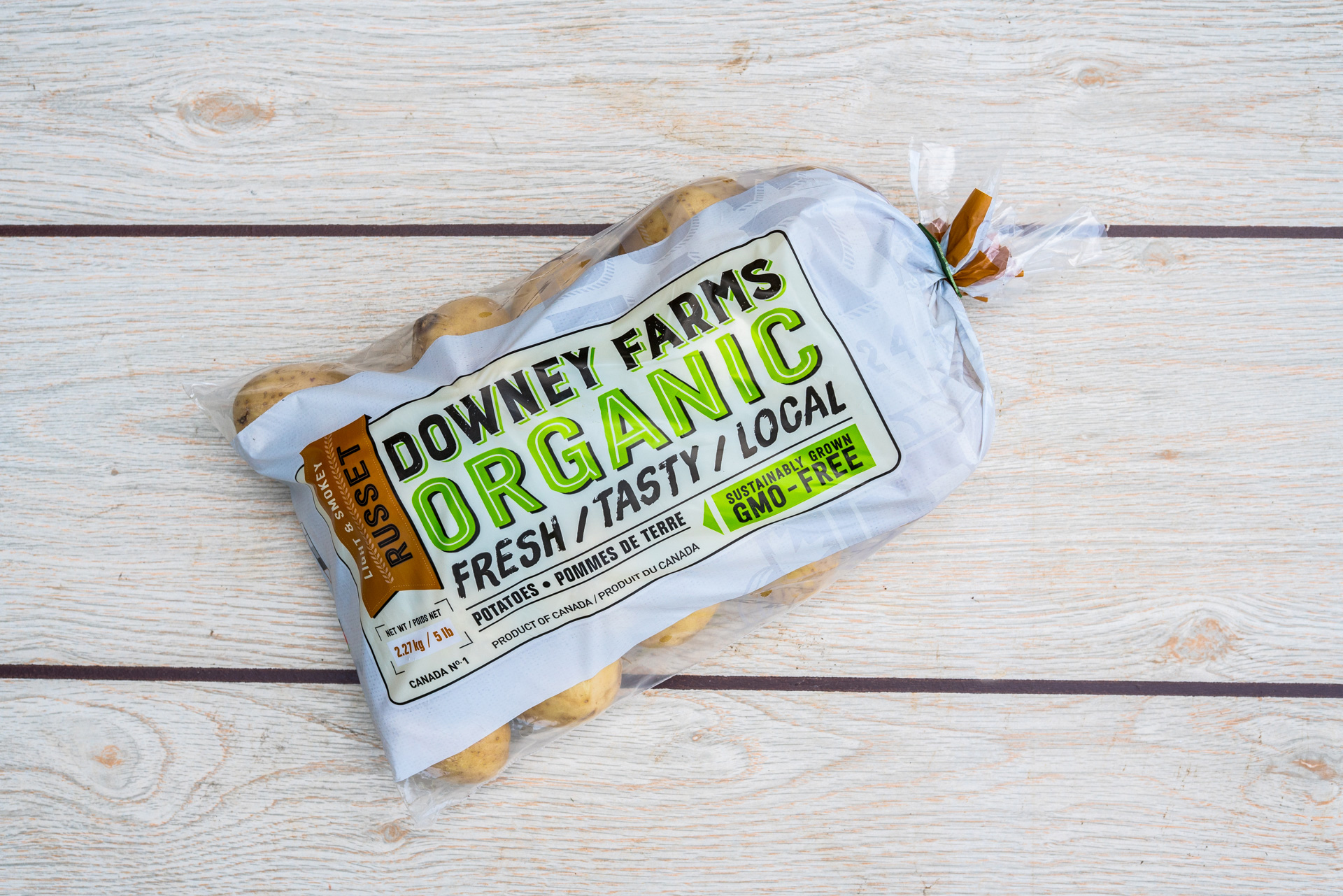 Downey Farms Organic Russet Potatoes bag design. Fresh, tasty, locally made in Ontario.