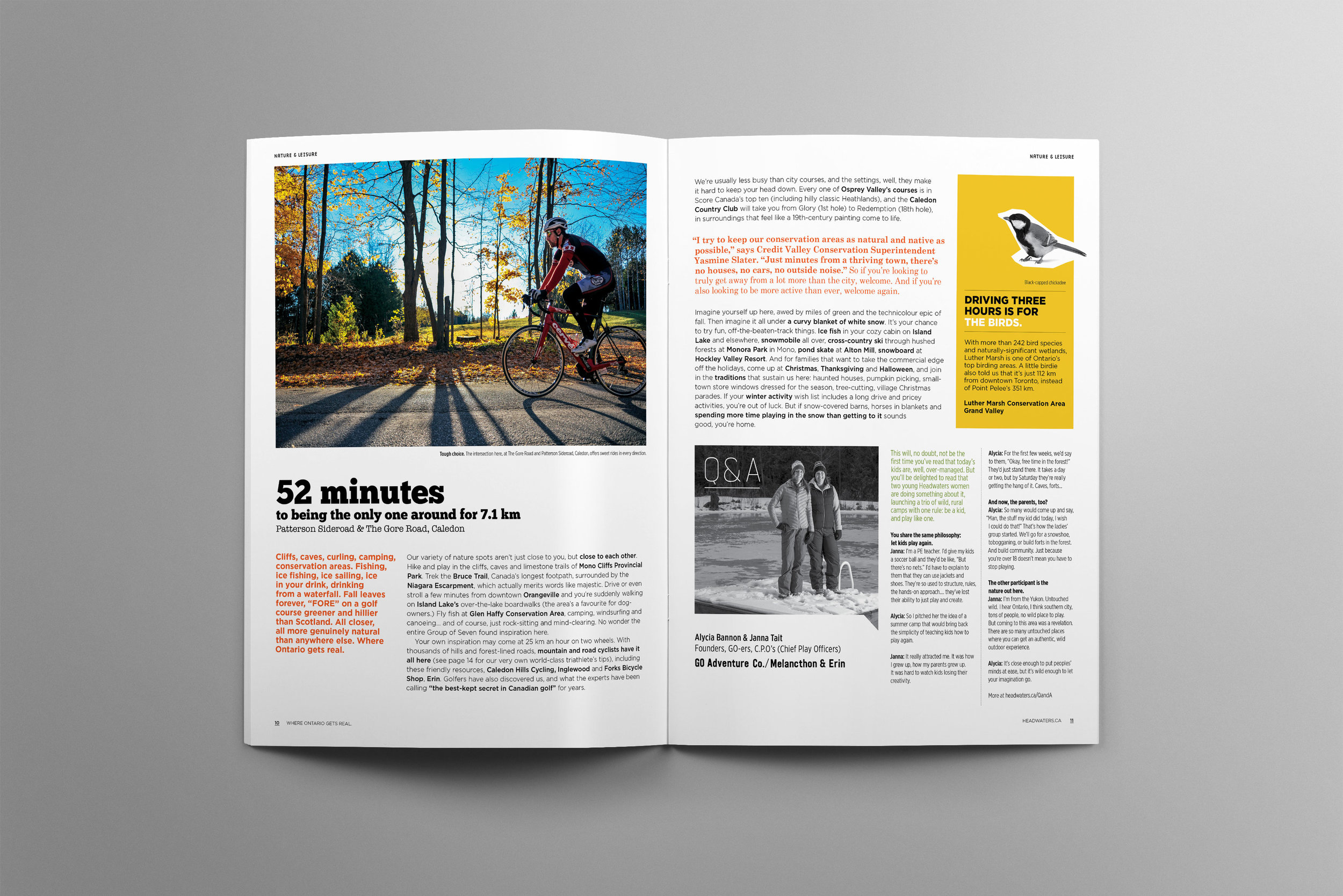 Biking, snowshoeing, hiking – there is so much to do within the great outdoors of Headwaters, Canada. This colourful editorial layout shows you the ins and outs of adventure within the Ontario region.
