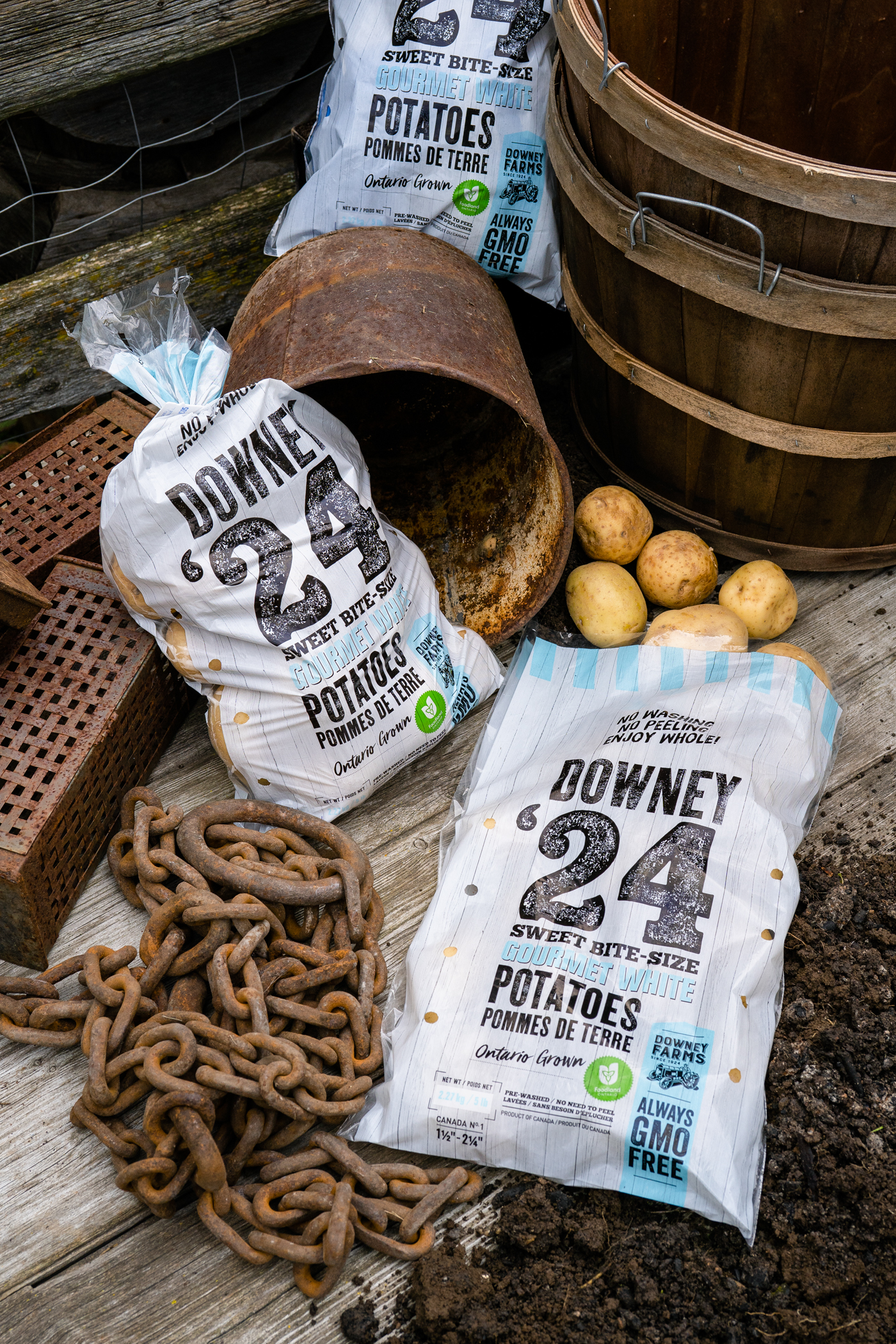 Package design for Canadian gourmet organic potato brand Downey Farms Potatoes.