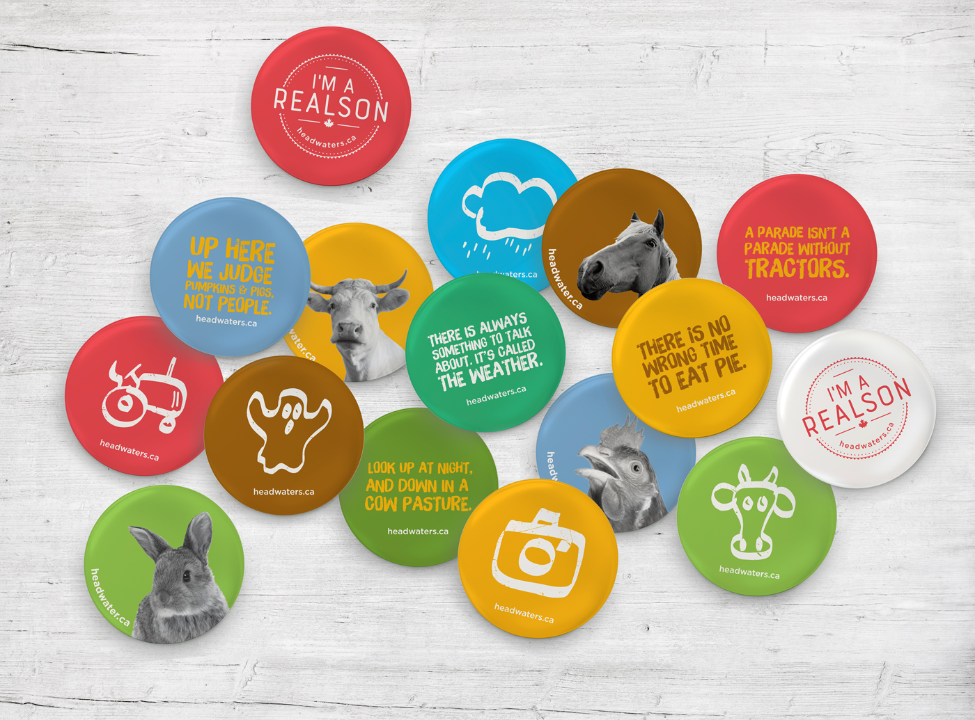 Promo buttons for Headwaters featuring agriculture. Including the cattle industry, equine, rabbit and chicken farms.