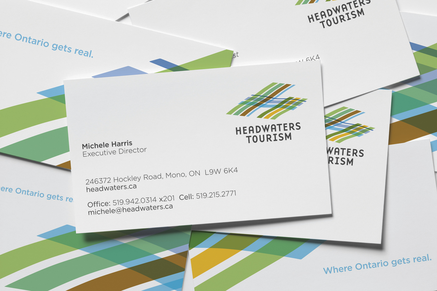 Stationary design for Michele Harris with Headwaters Tourism. Including postcard, business card and cover letter.