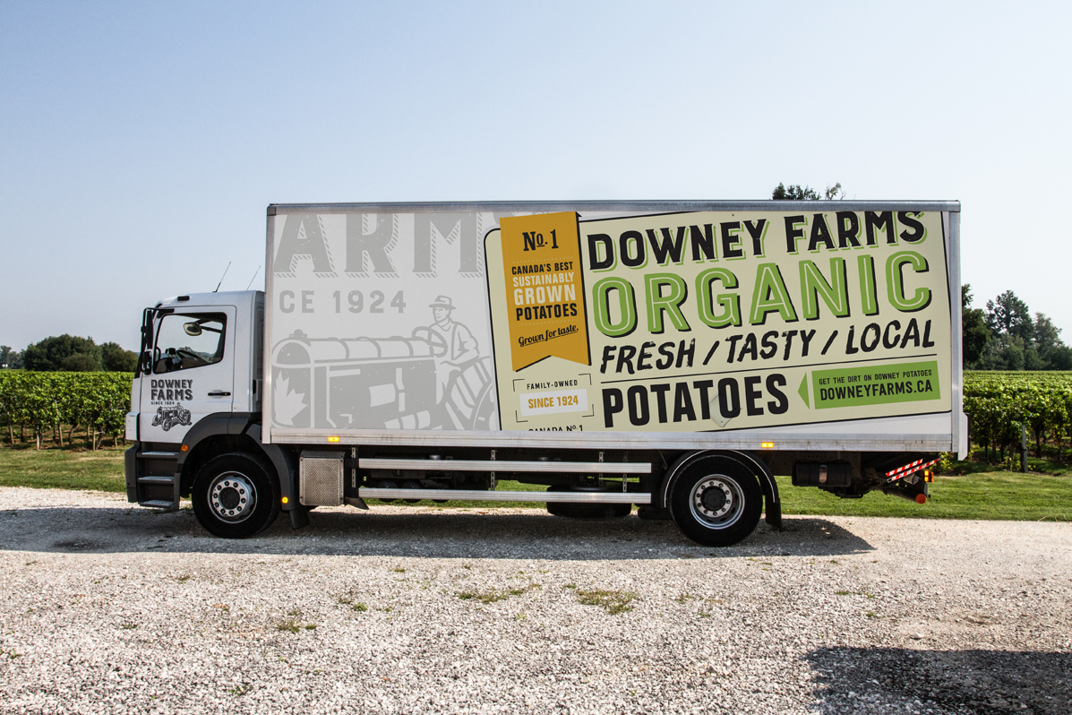 Design for Downey Farms Organic delivery truck. Downey Farms brings a unique and refreshing taste to the palette of Canadians.