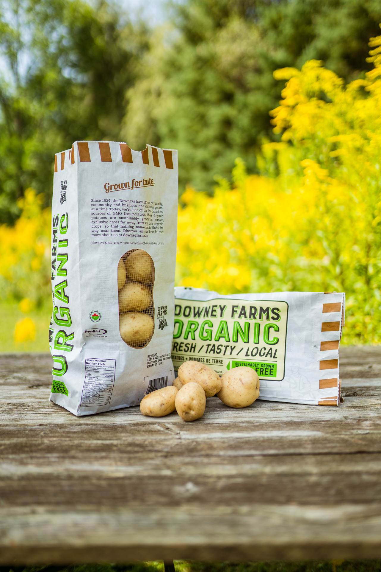 Downey Farms Organic Potato packaging in a paper compostable bag.