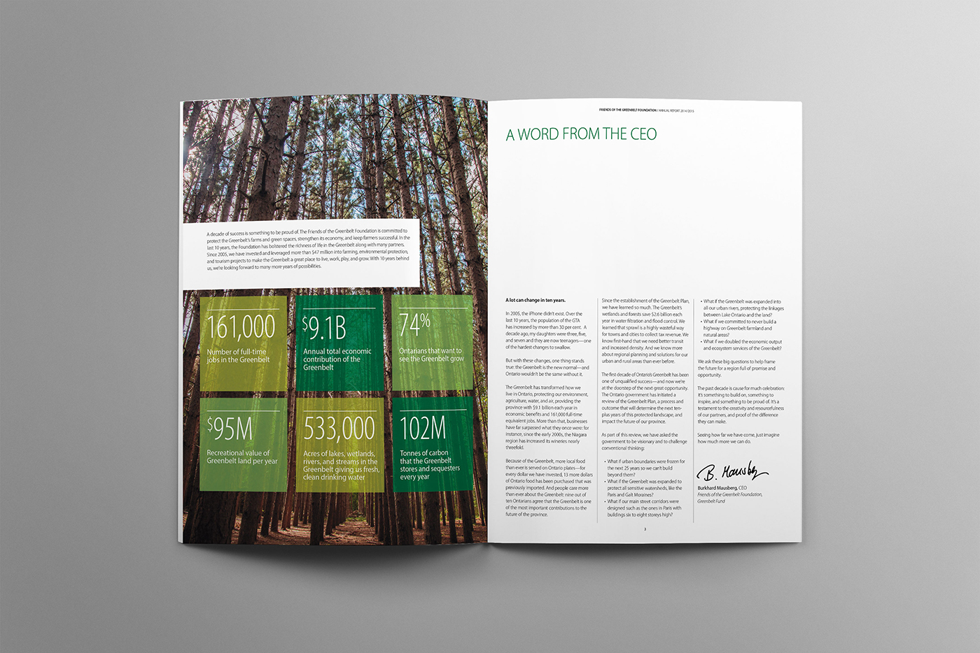 A word from the CEO highlights the growth and successes of the Greenbelt foundation over 2014-1015, showing highlights of our beautiful greenbelt region.