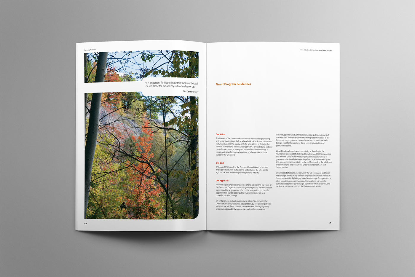 Waterfall spread in autumn for greenbelt annual.