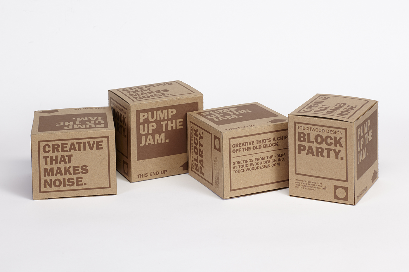 Kraft paper boxes perfectly align with Touchwood Design's wooden speaker, which allows you to play music off your iphone without any power.