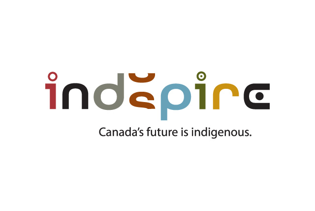 Branding for indspire. An organization that invests in Indigenous people's future and education. This logo pays homage to native art and colours.