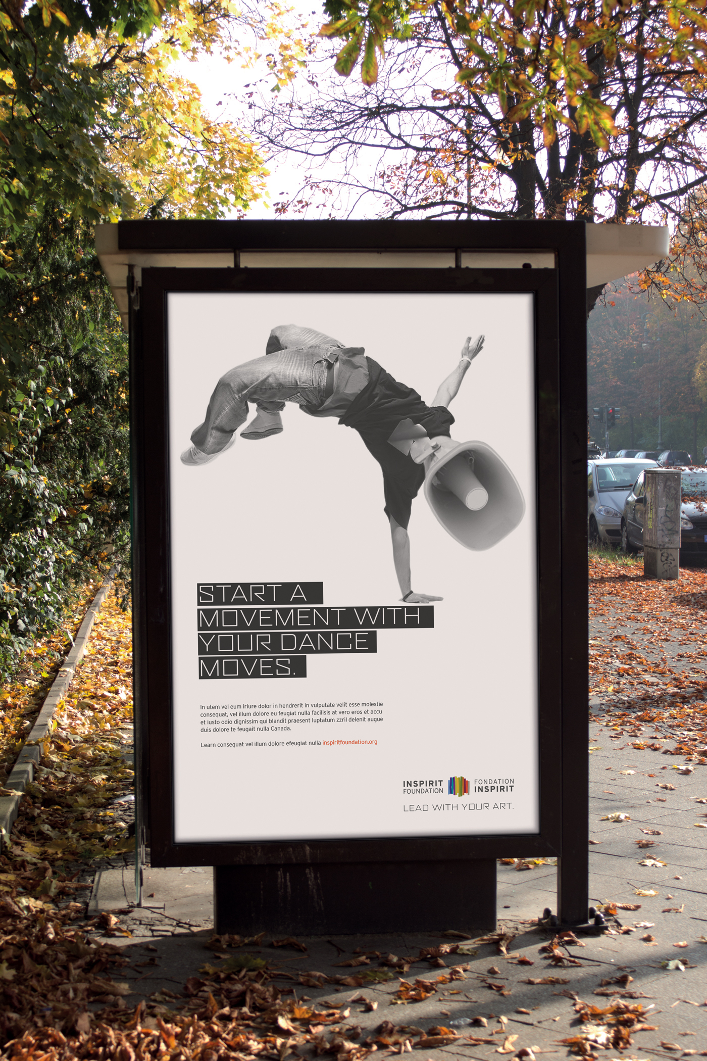 A bus poster campaign with inspirit that supports young people to build a more inclusive world. A black and white image with a man break dancing and a speaker on his head. Minimal design with powerful imagery and collage art.
