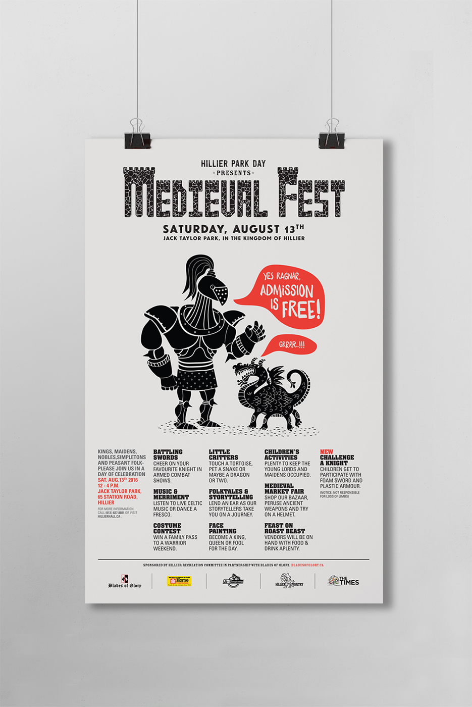 Poster for Medieval Fest at Jack Taylor Park in Hillier. Illustrated knight and pet dragon. Experience sword battles, music, costumes, face painting, a feast, and a market at the festival in August.