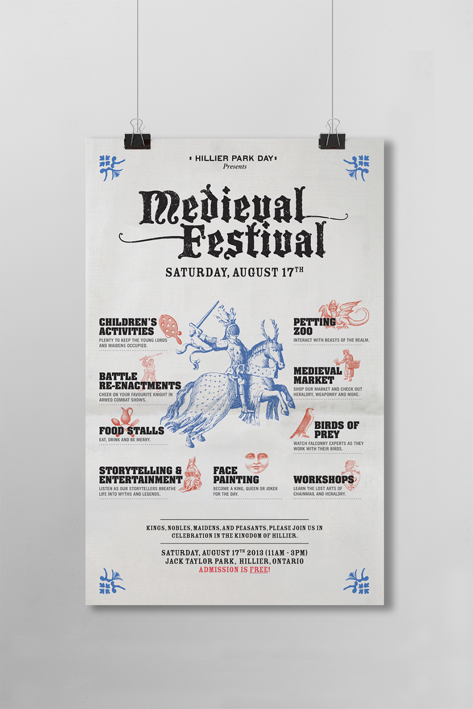 Medieval Festival Poster design by Touchwood Design Inc. Featuring vintage fonts with illustrated features.