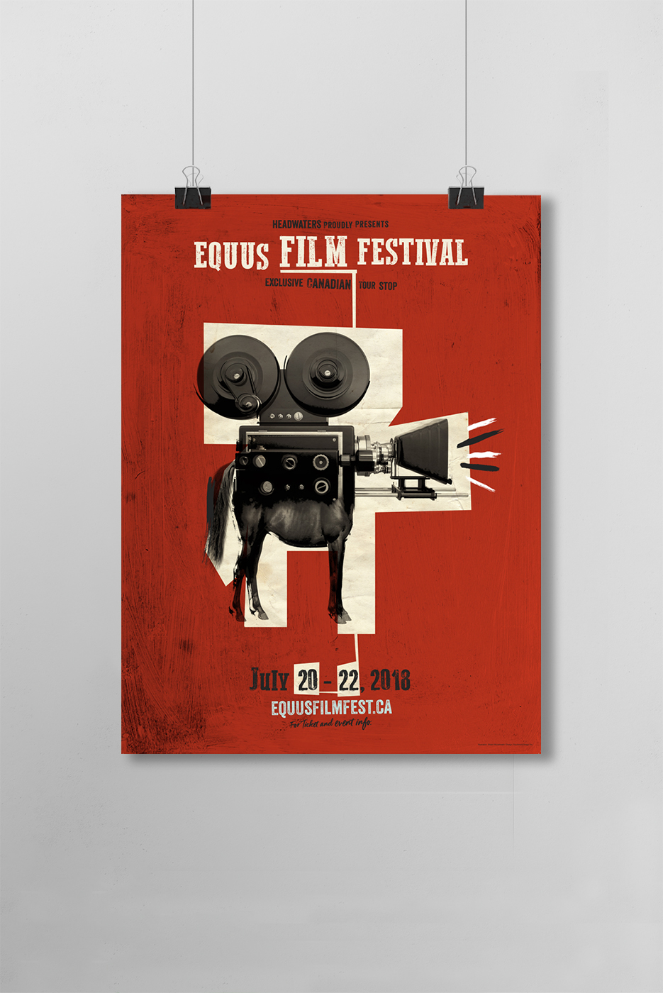 Poster design for Equus Film Festival in July 2018. Features collage art with a horse and a film camera.