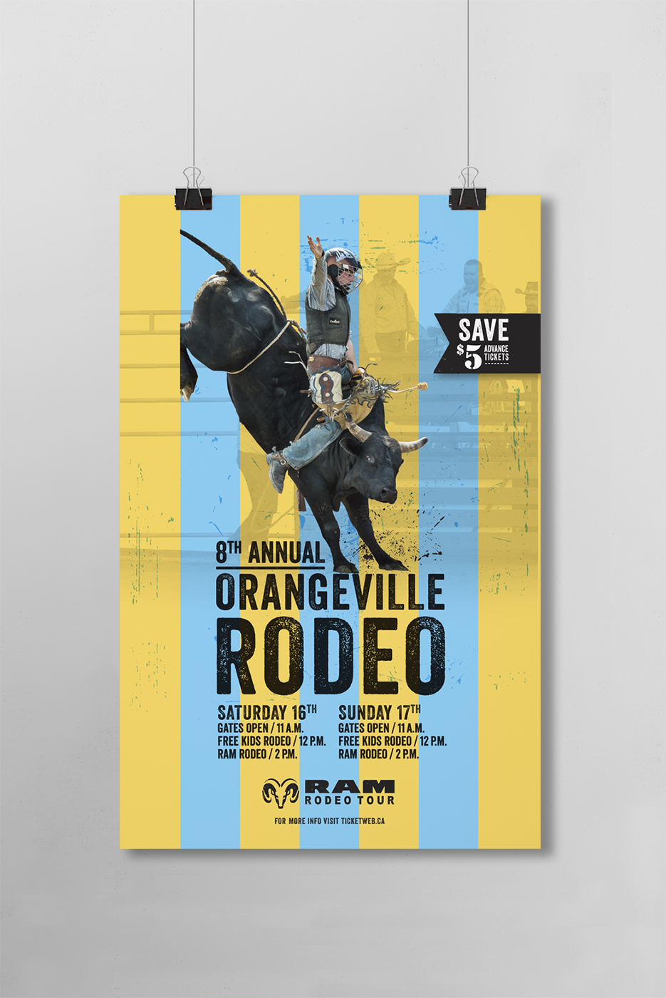 Orangeville Annual Rodeo Poster design featuring a man riding a bull.