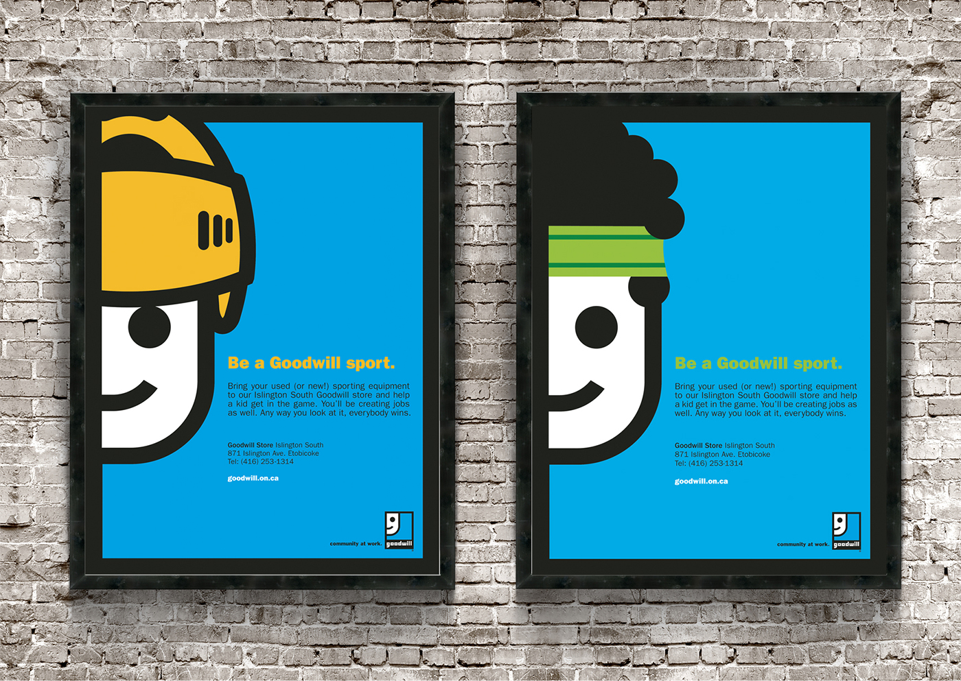Goodwill poster design with blue background, flat designed quirky mascots dressed in sports athletic gear.