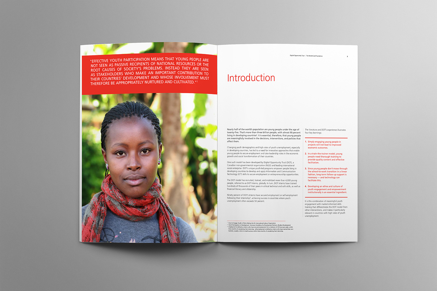The Mastercard Foundation intro spread features an picture of a young African Canadian woman who will benefit from the internship program.