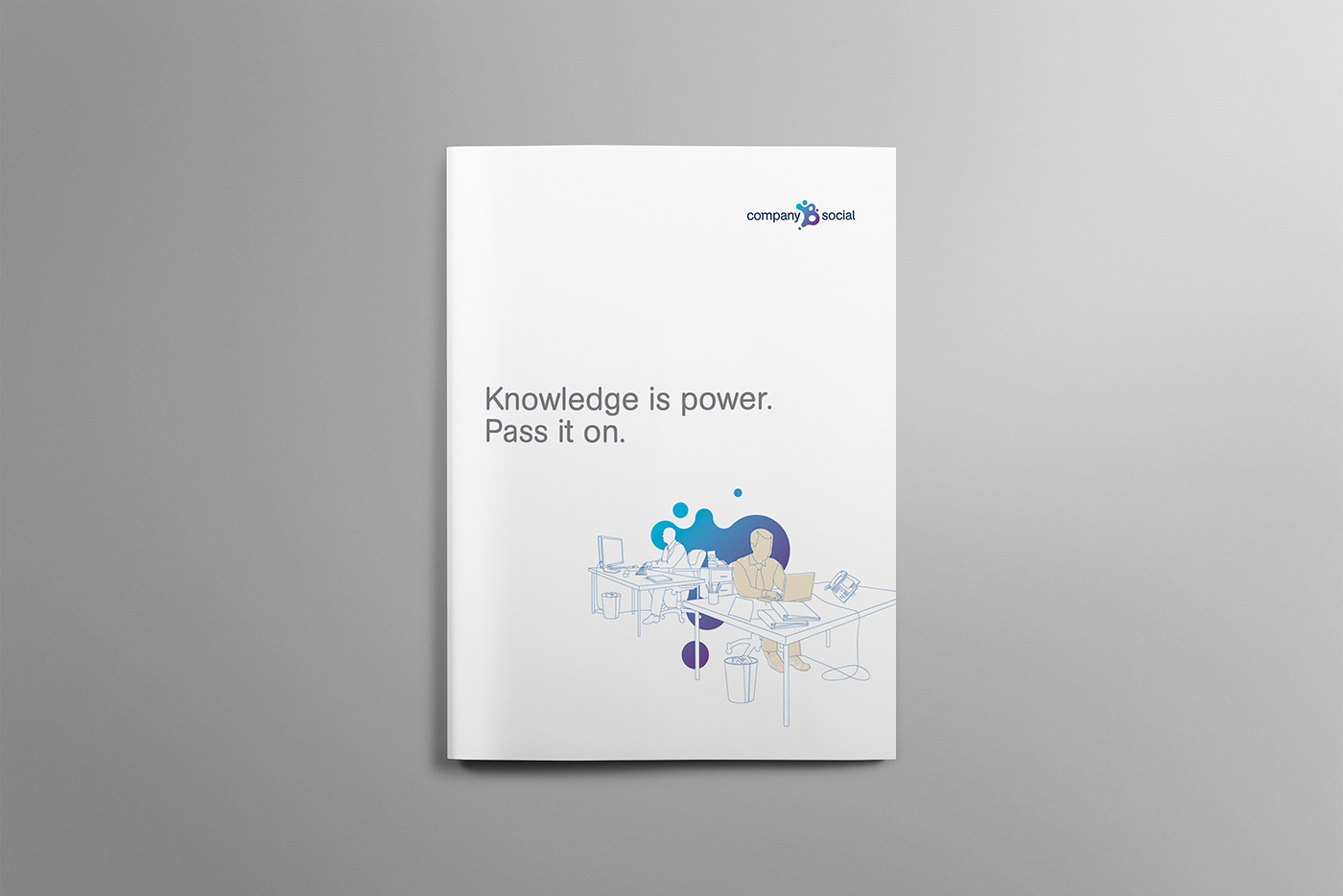 Cover for Comapny B includes minimalistic Illustration and a heading that says Knowledge is power.