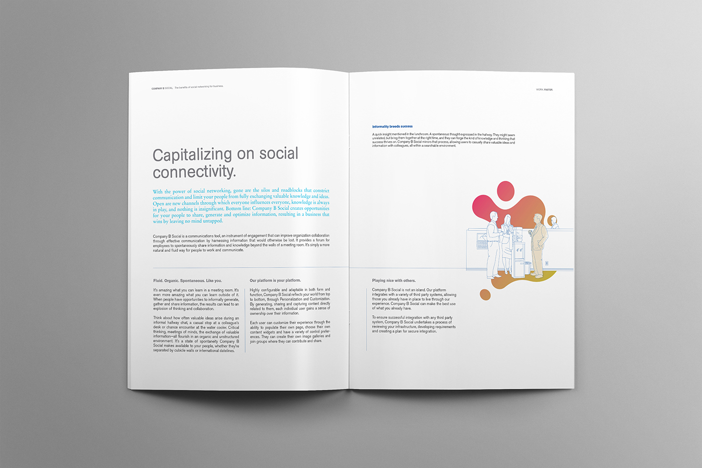 Clean design for Company B magazine that features unique illustrations.