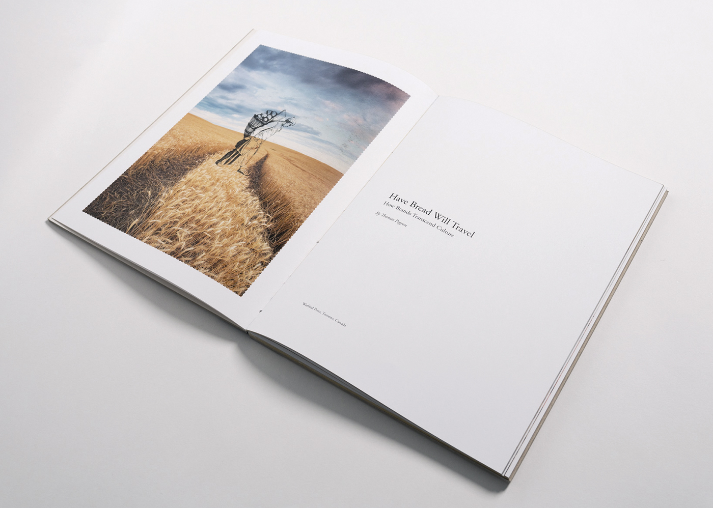 Wheat field introduction spread of Pigeon book. Simplistic and minimal design with powerful imagery.