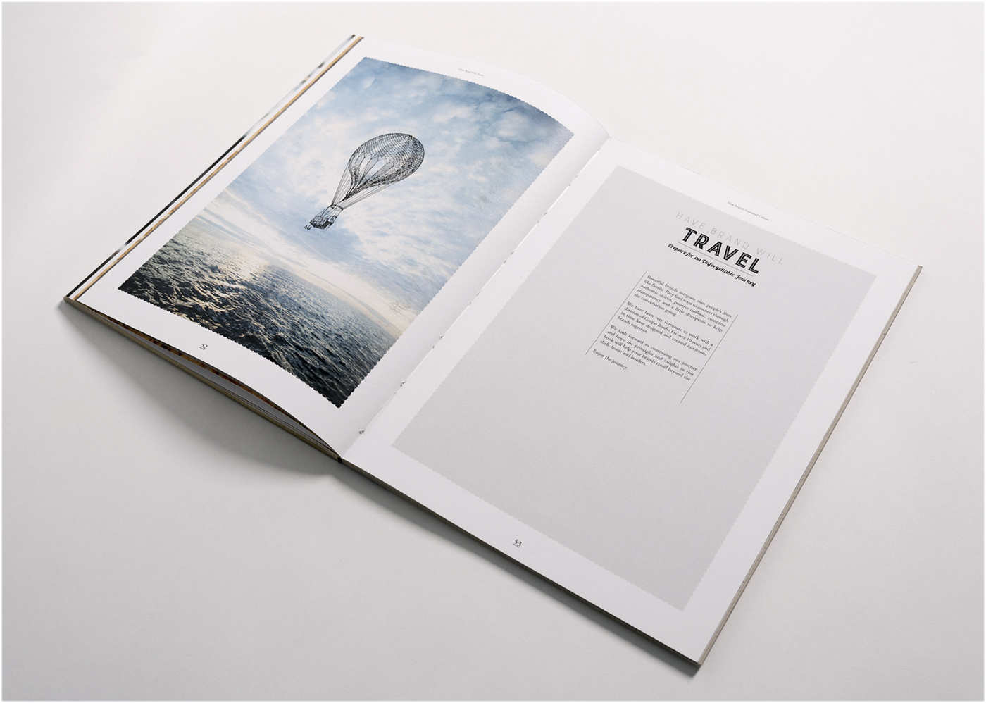Travel spread that features a hot air balloon within the minimalistic design.