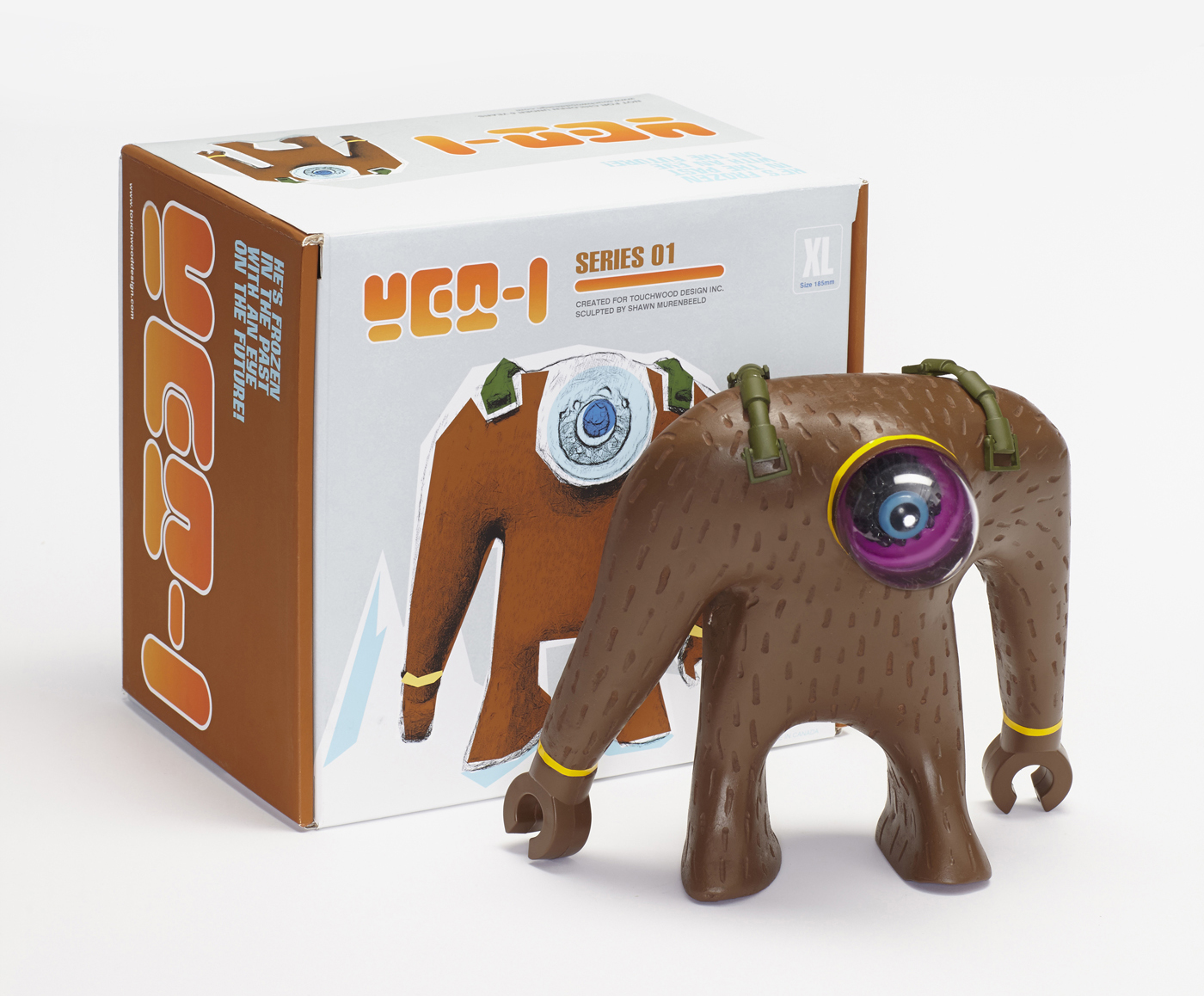 Yeti plaster figurine with package design.