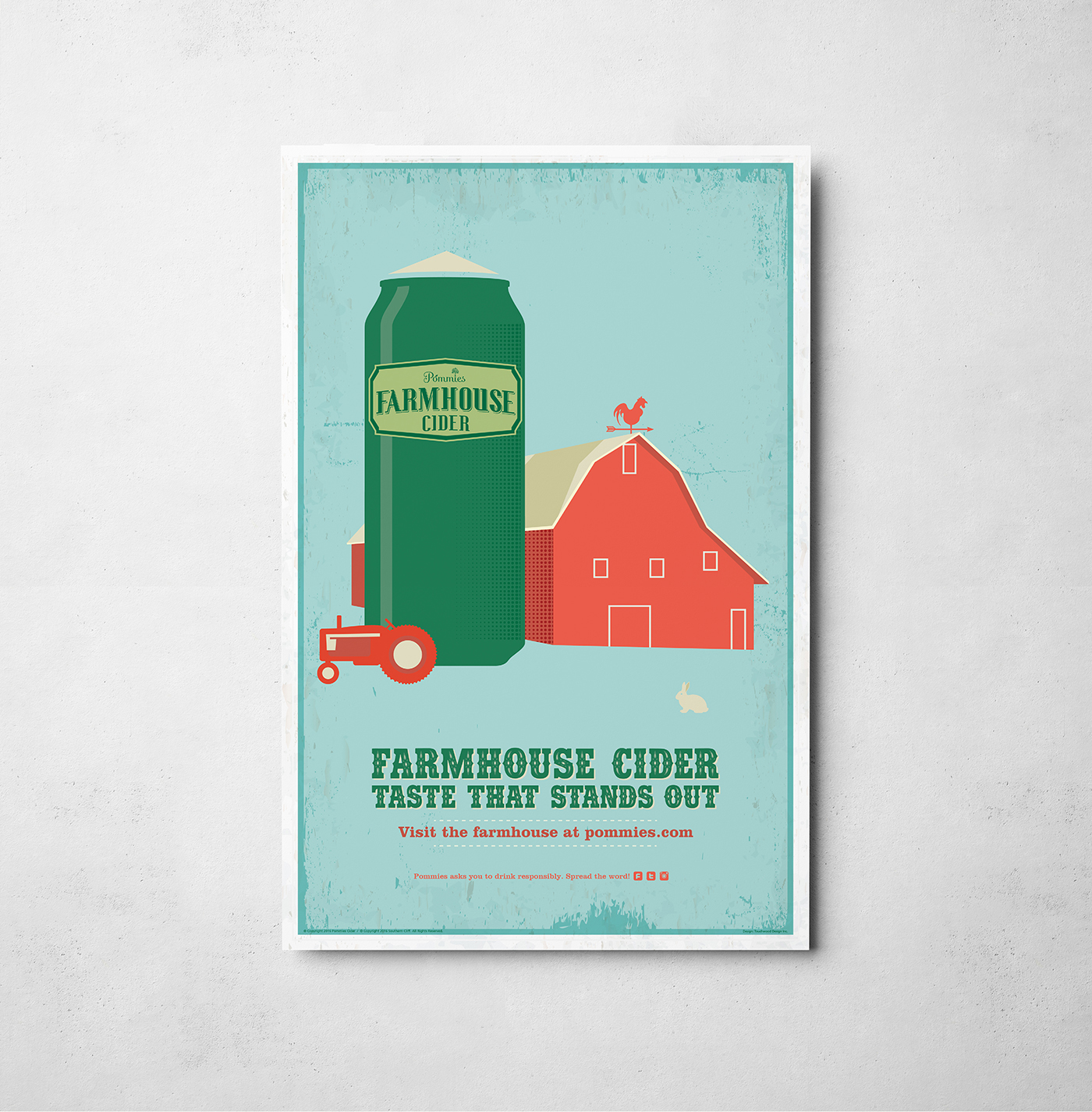 Poster design for Pommies Farmhouse Cider. Featuring a red barn, tractor and rabbit within a farm. Rustic texture within a clean flat design.