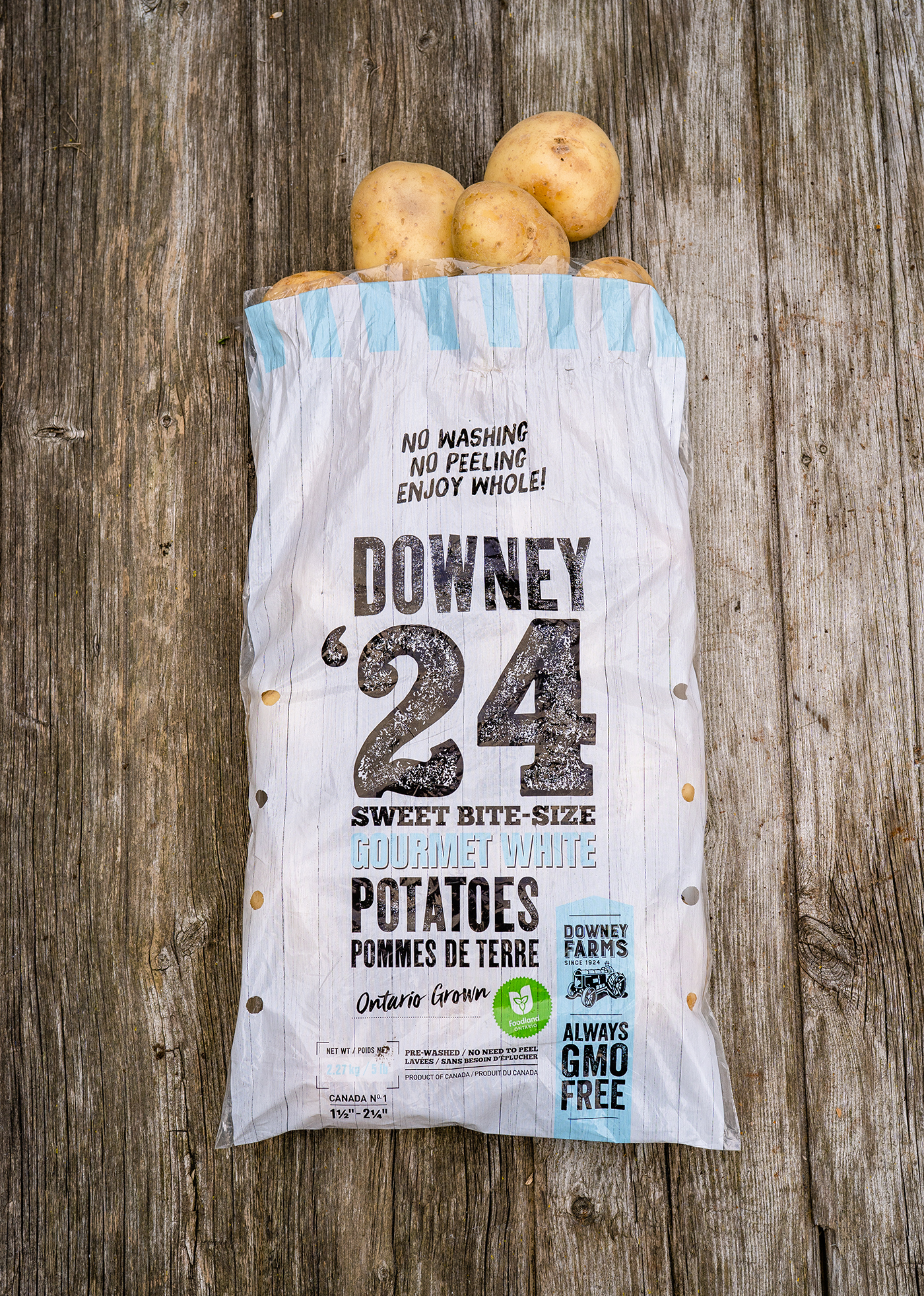 Shelburne grown bite sized gourmet white potato bag packaging