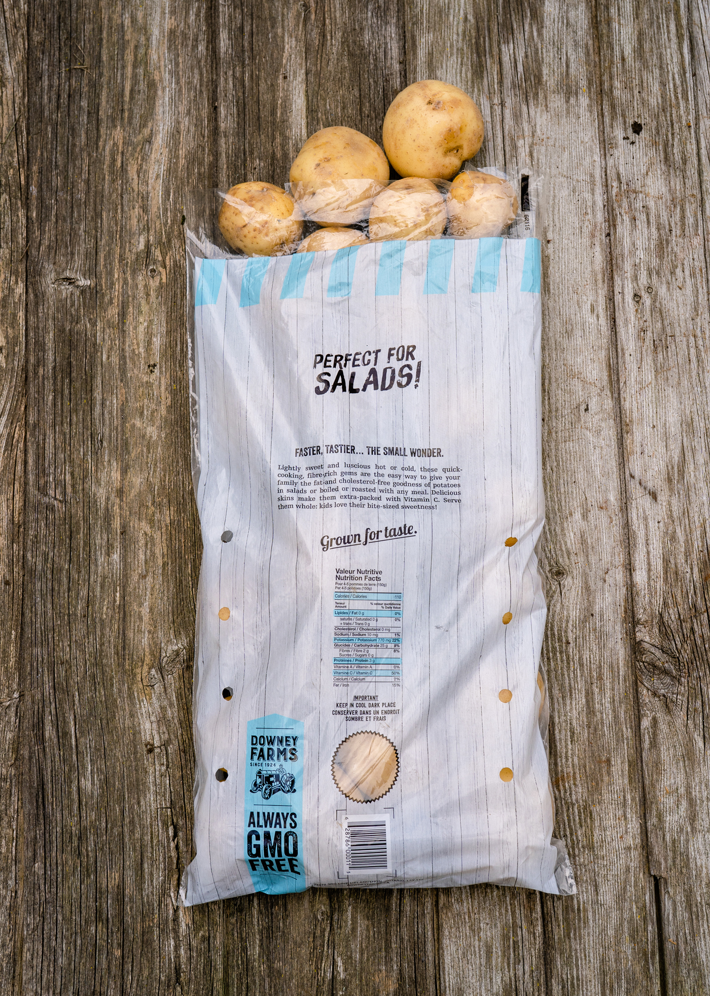 Reverse side of plastic potato package design. Ontario grown organic gourmet potatoes