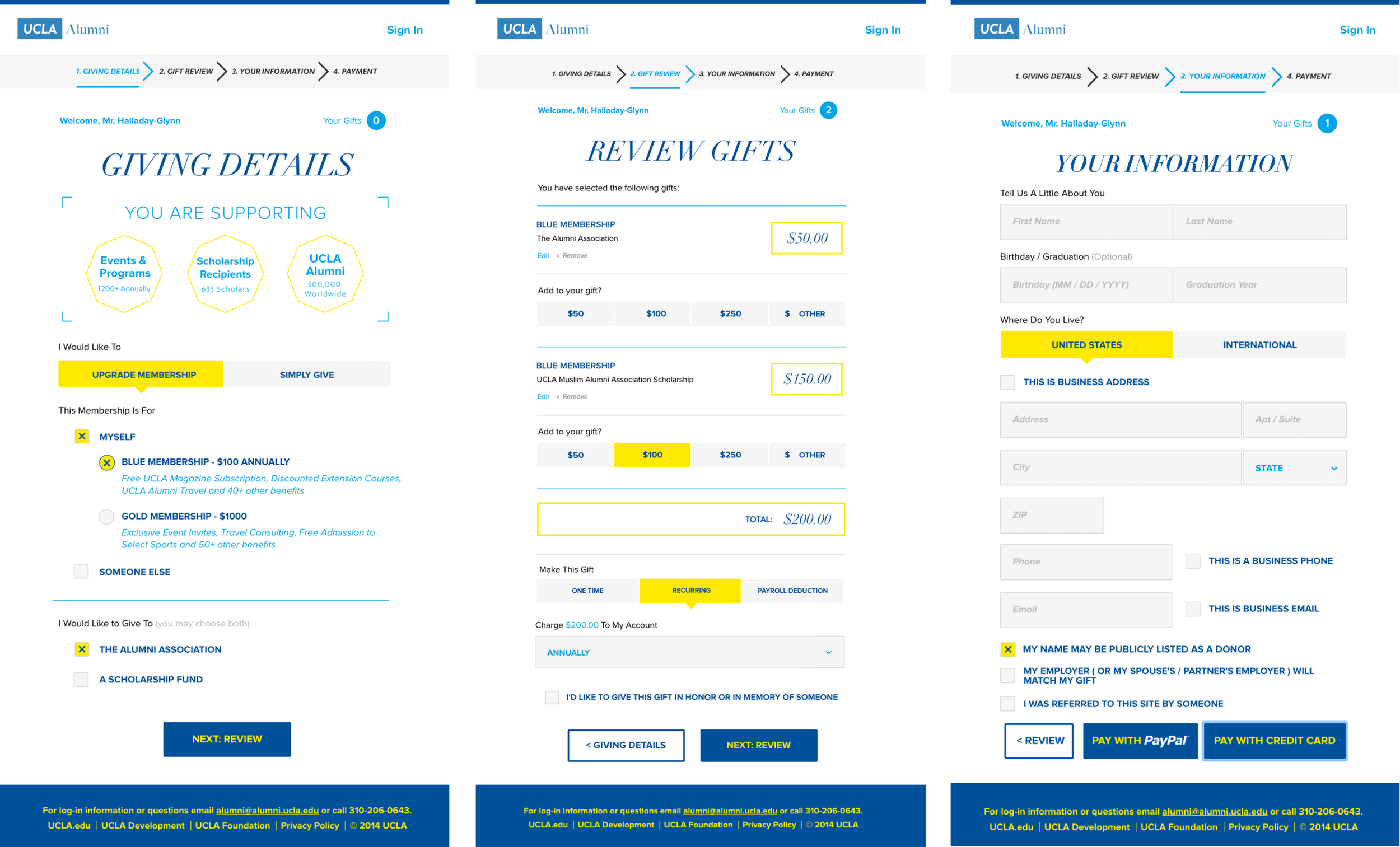 Selected screens from a streamlined donation flow for UCLA Alumni. When implemented, the portal generated 7% more overall donations and 59% more match donations over the next year.