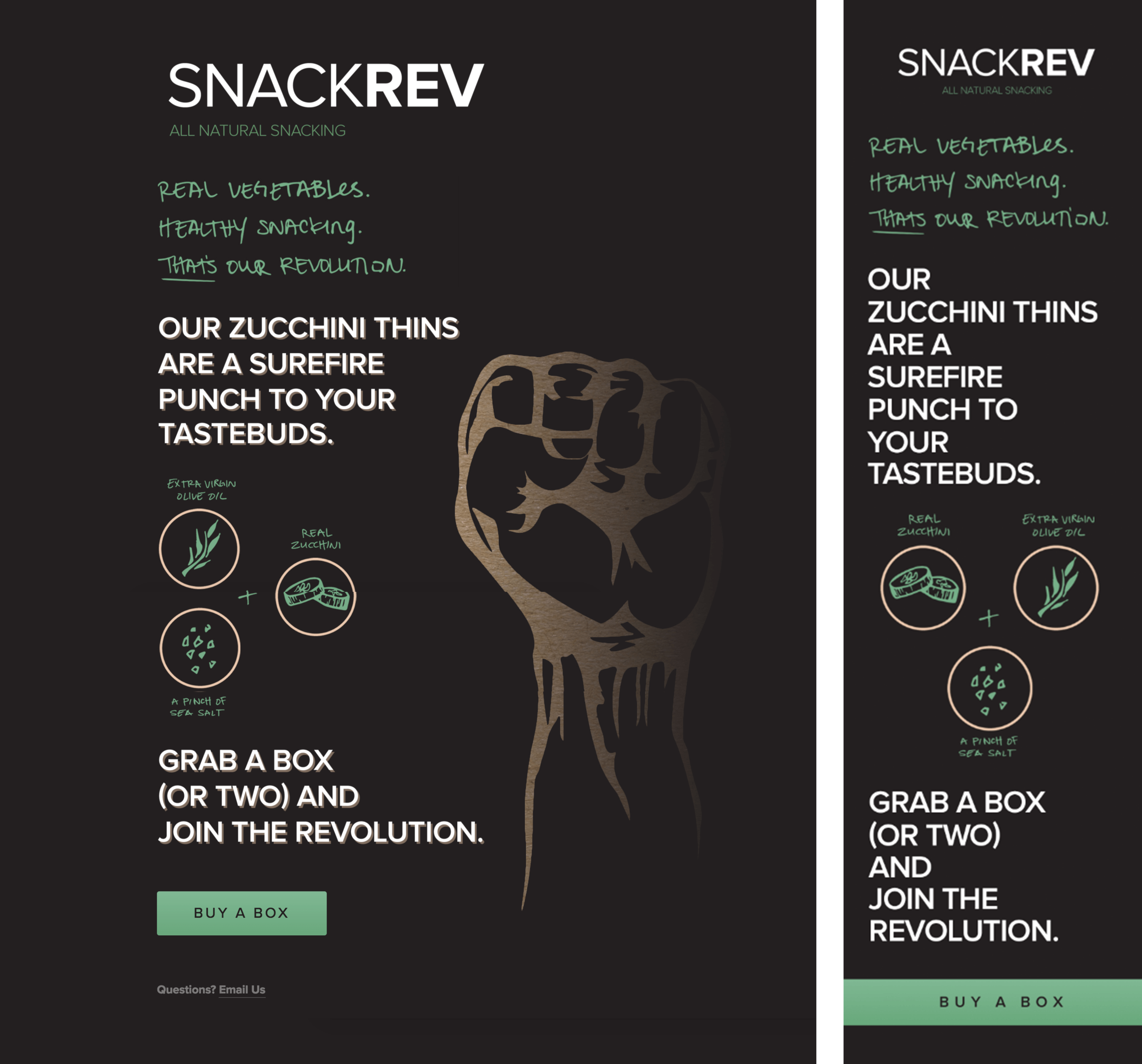Desktop and mobile screens from the SnackRev zucchini chip landing page.