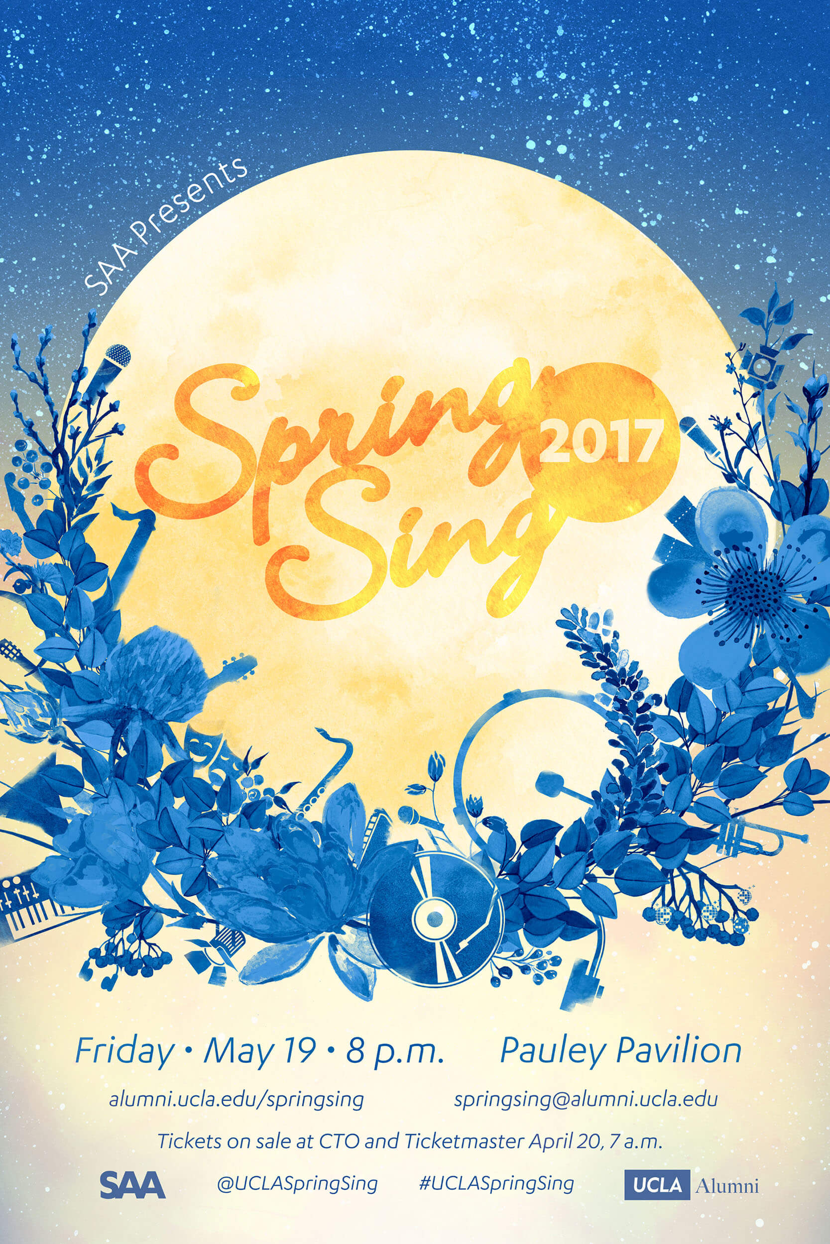 Poster filled with design easter eggs for the history-rich event Spring Sing.