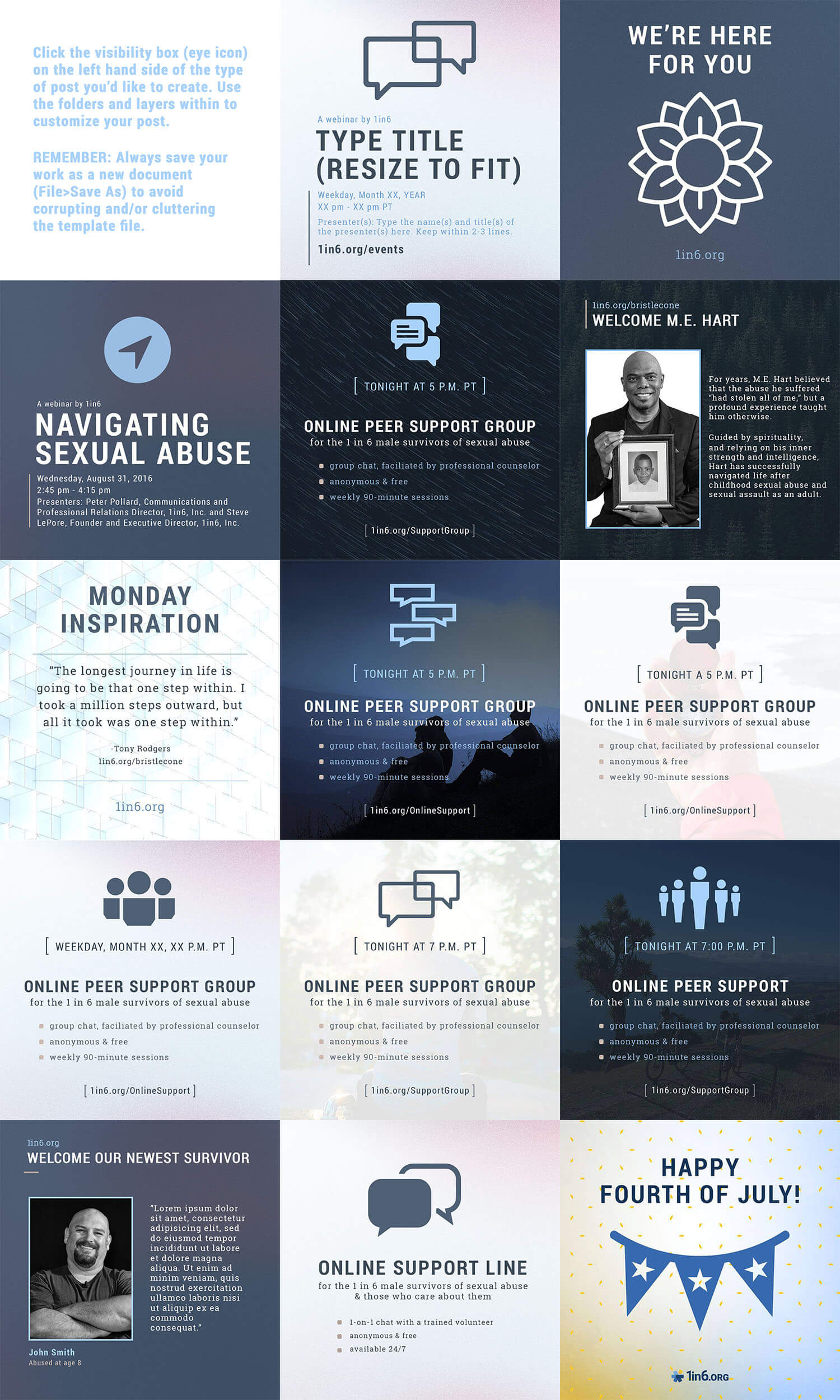 In an effort to give the non-profit the most bang for their buck, I built a robust social media template that could be configured by non-designs to create over 150,000 posts.