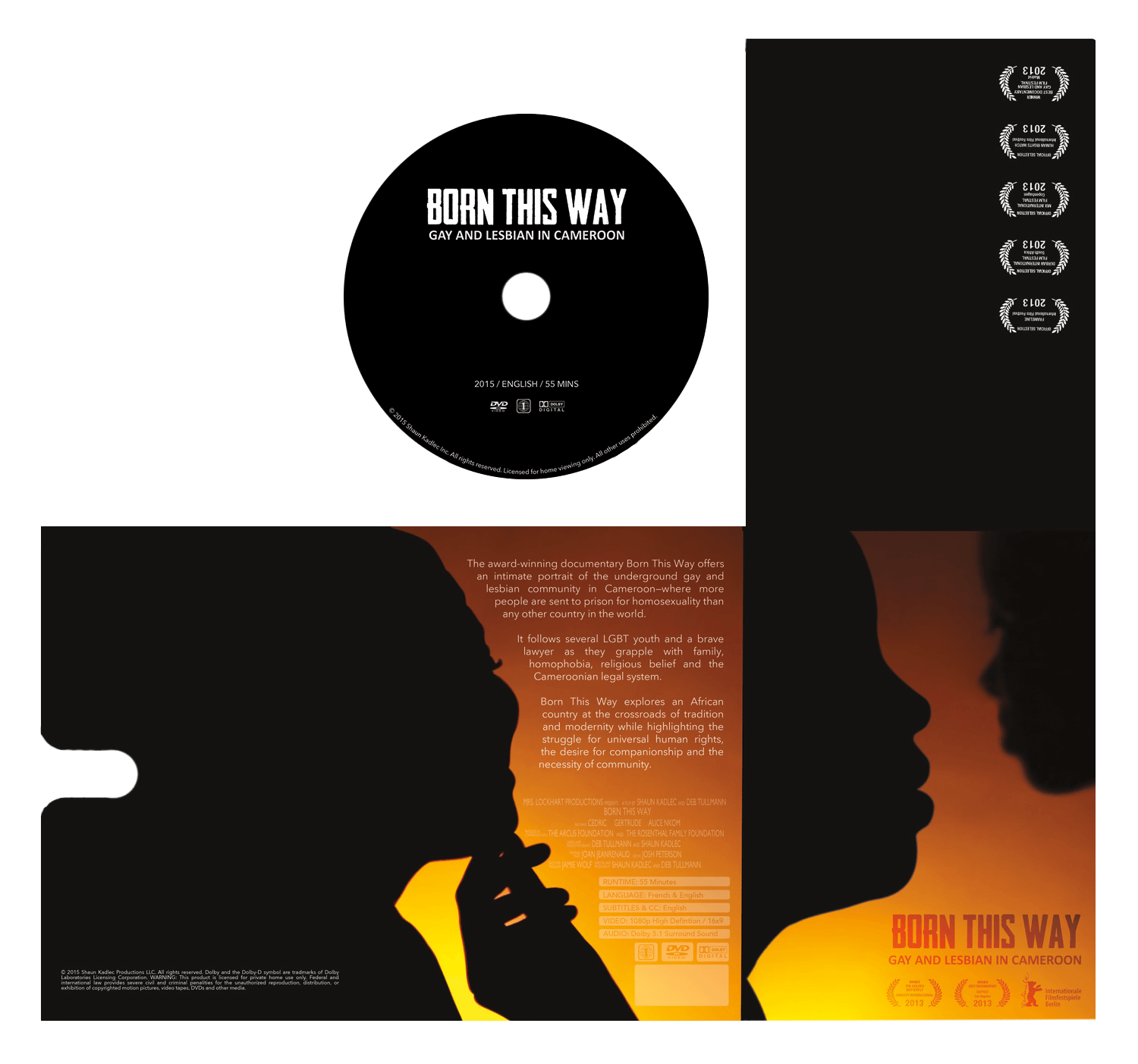 Blu-ray sleeve and disk design for the award winning documentary  Born This Way .