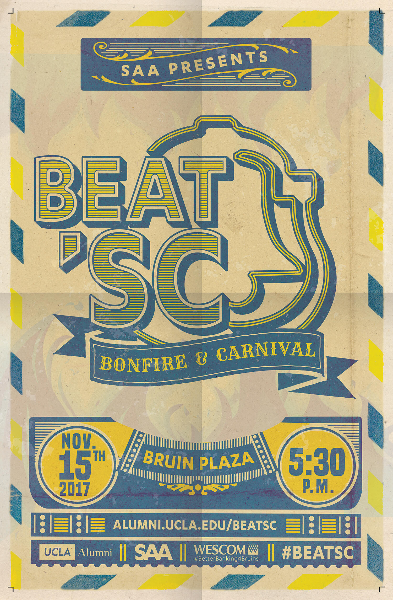 Transformed the modern event artwork for UCLA Alumni's Beat 'SC event into classic carnival collateral.