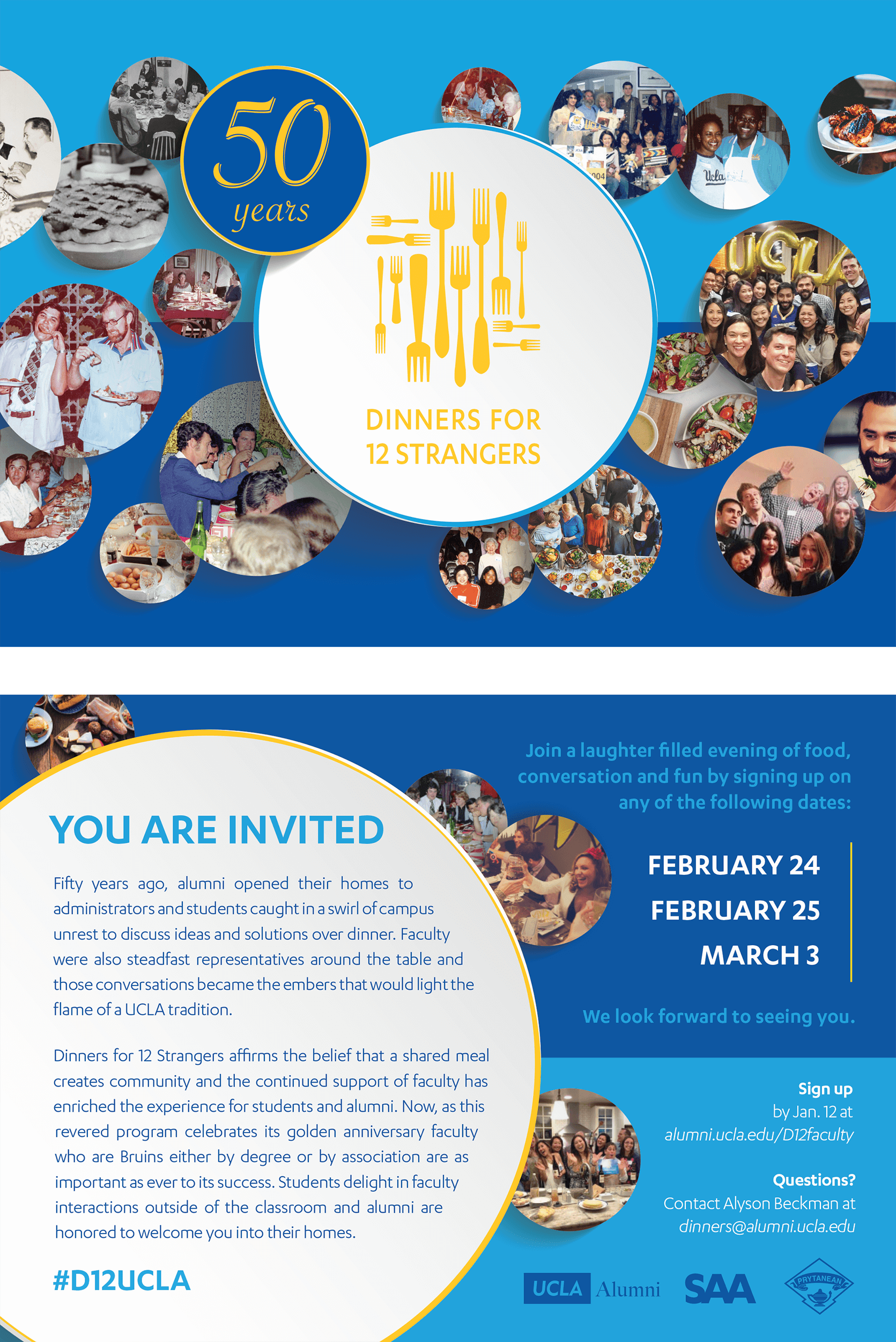 "Dinners for 12 strangers has brought together alumni of varying ages and backgrounds for five decades. From left to right, the ""plates"" in this flyer and postcard span the history of the event."
