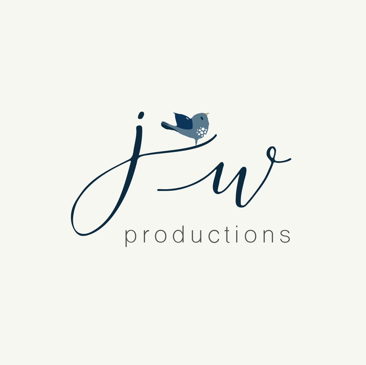 monogram logo with blue bird