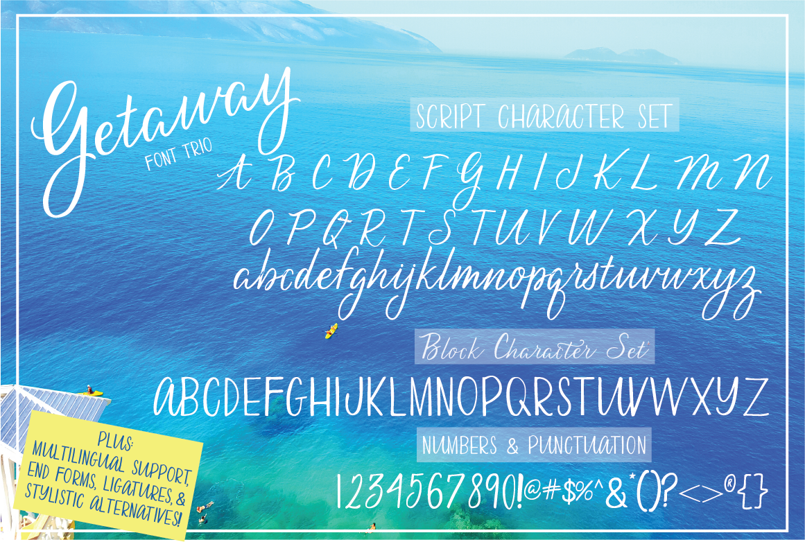 Ocean background with the alphabet written in white.