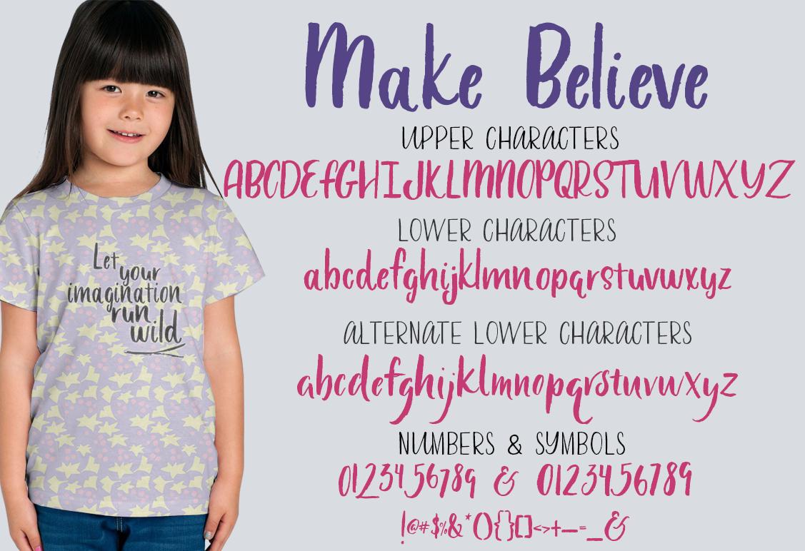 Make Believe alphabet with girl wearing purple shirt.