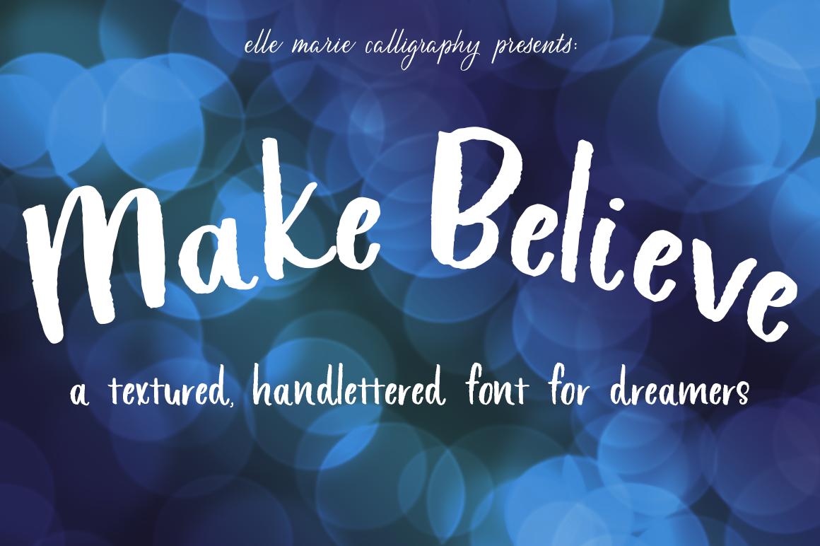 Make Believe block lettered font in white on dark blue bubbles.
