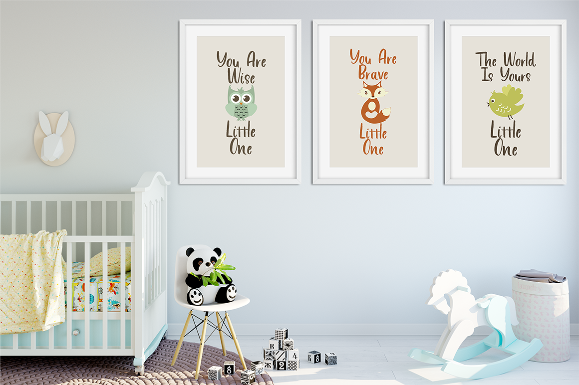 child's bedroom with the font used in animal prints on the wall.