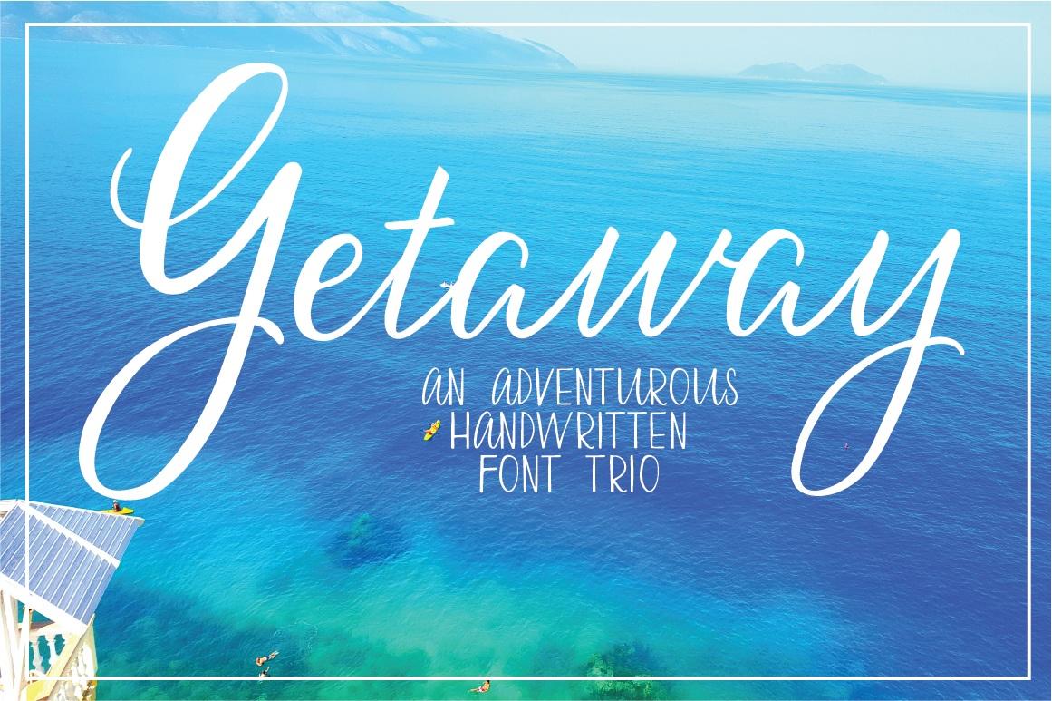 ocean image with getaway written in white. Getaway is a custom font trio.